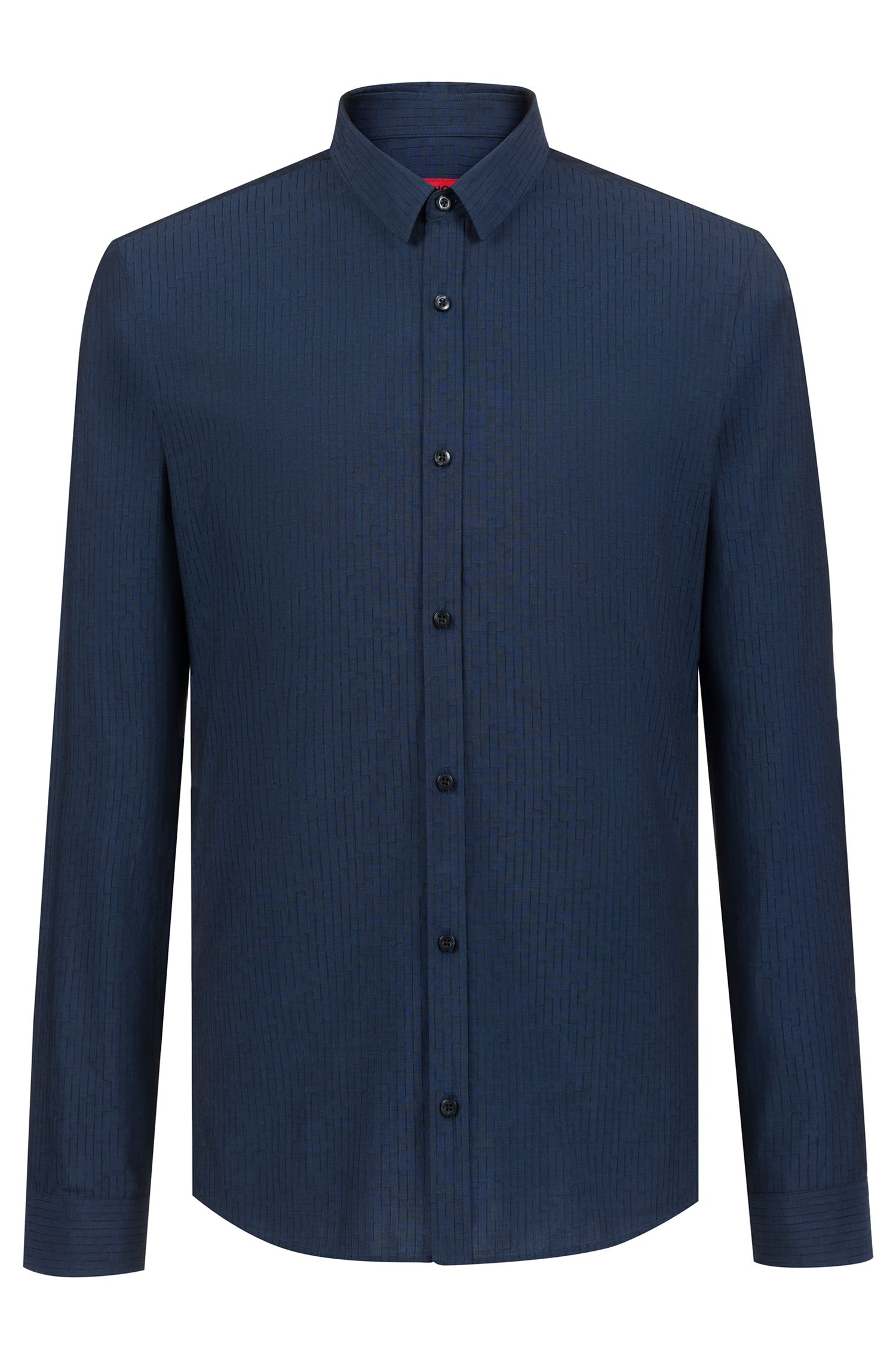 Extra-slim-fit Italian-cotton shirt with jacquard weave, Dark Blue