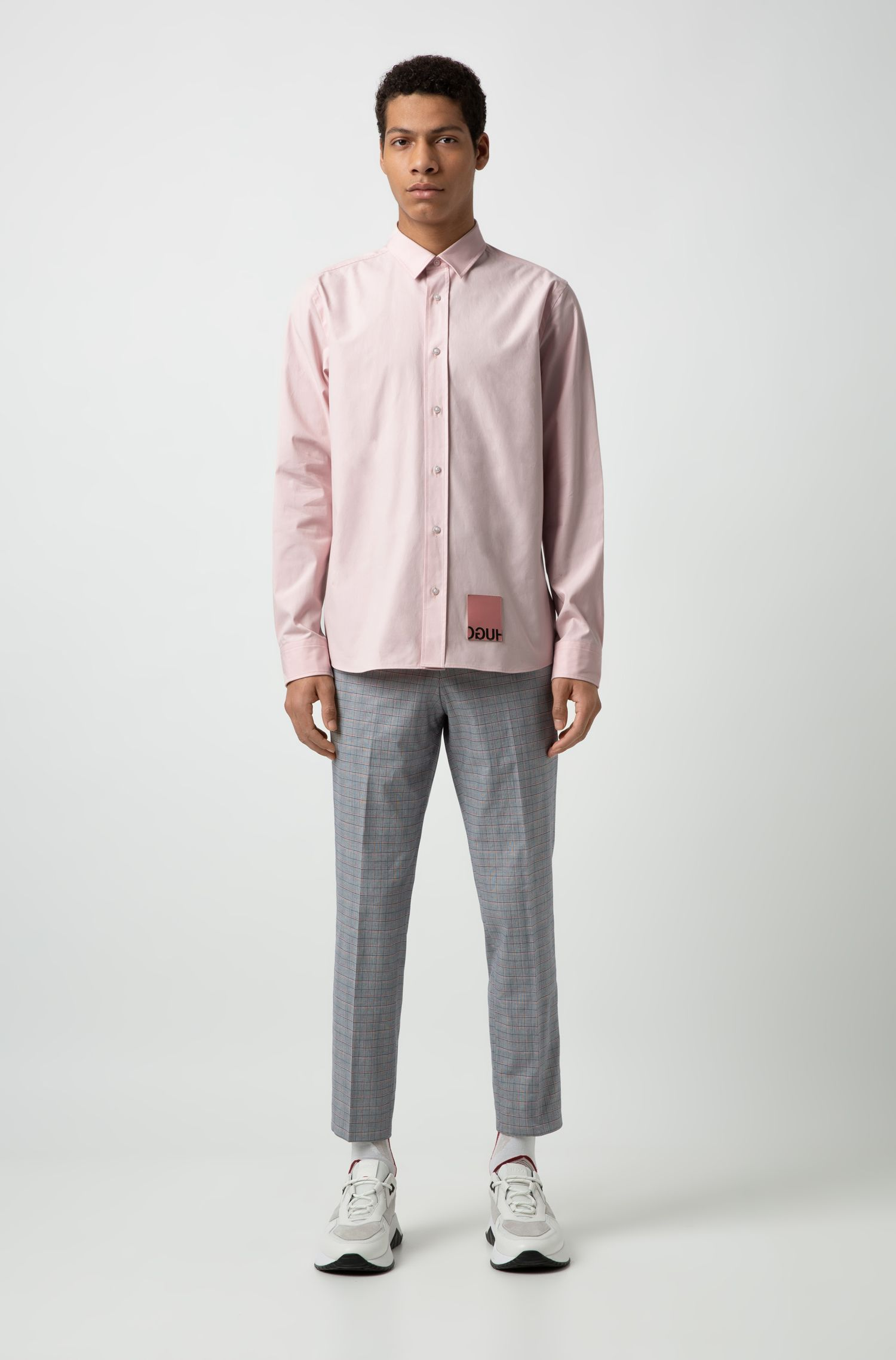 Relaxed-fit shirt with leather reversed-logo patch, Open Pink