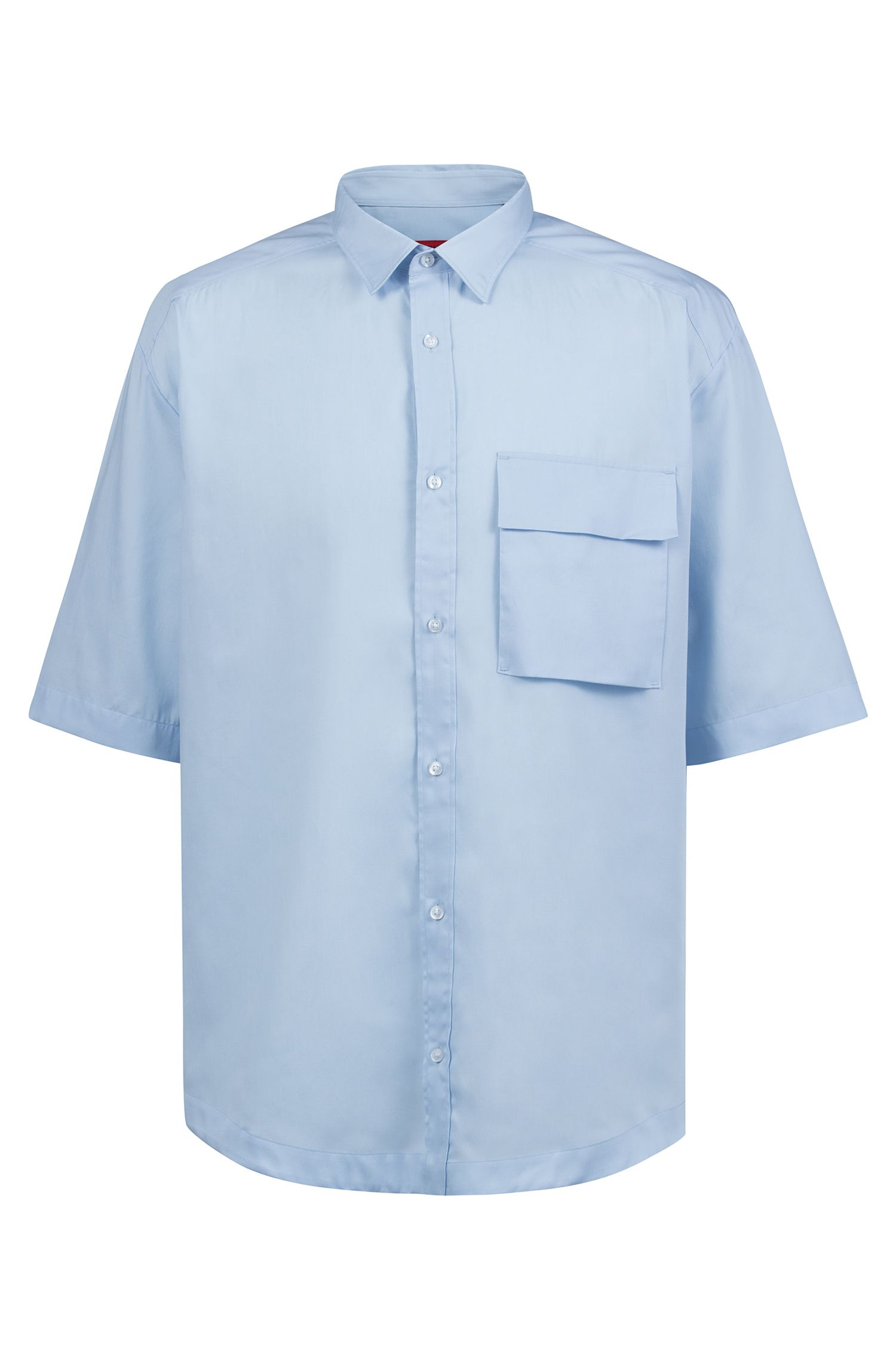 Oversized-fit shirt with half sleeves and patched pocket, Open Blue