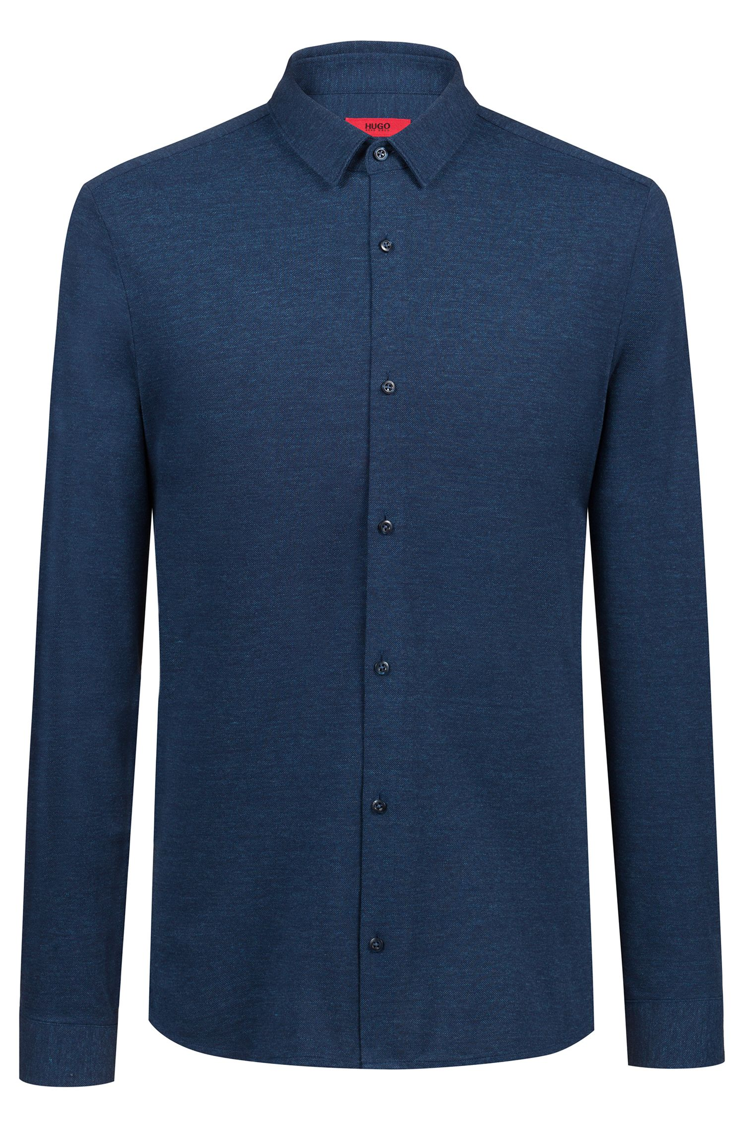 Extra-slim-fit shirt in melange cotton jersey, Dark Blue