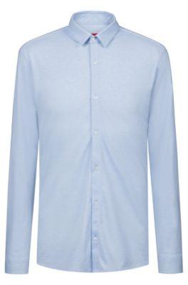 Extra-slim-fit shirt in melange cotton jersey, Open Blue