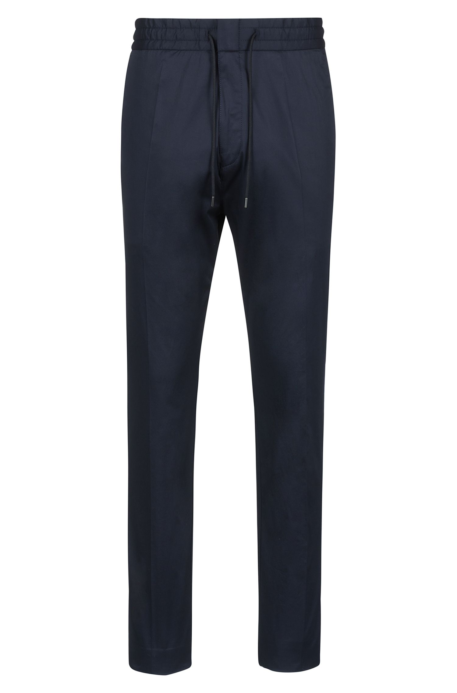 Tapered-fit pants in stretch cotton with drawstring waistband, Dark Blue