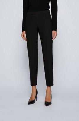 Slim-leg cropped pants in Portuguese stretch fabric, Black
