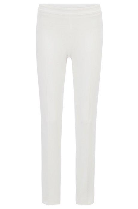 Slim-leg cropped pants in Portuguese stretch fabric, Natural