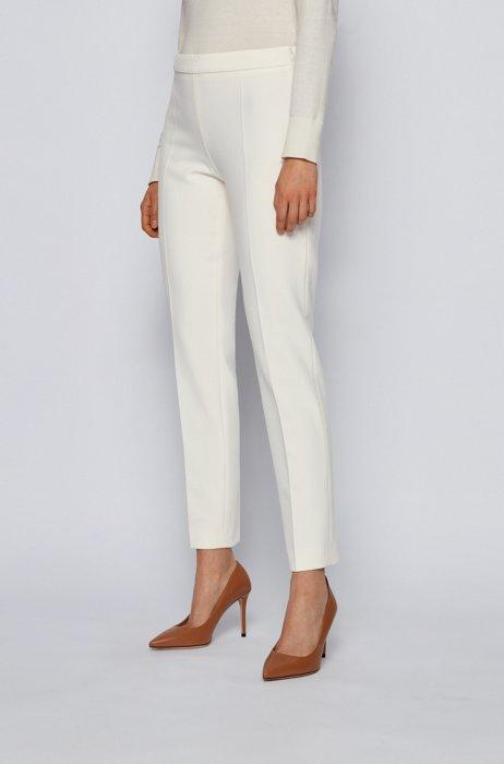 Slim-leg cropped pants in Portuguese stretch fabric, White