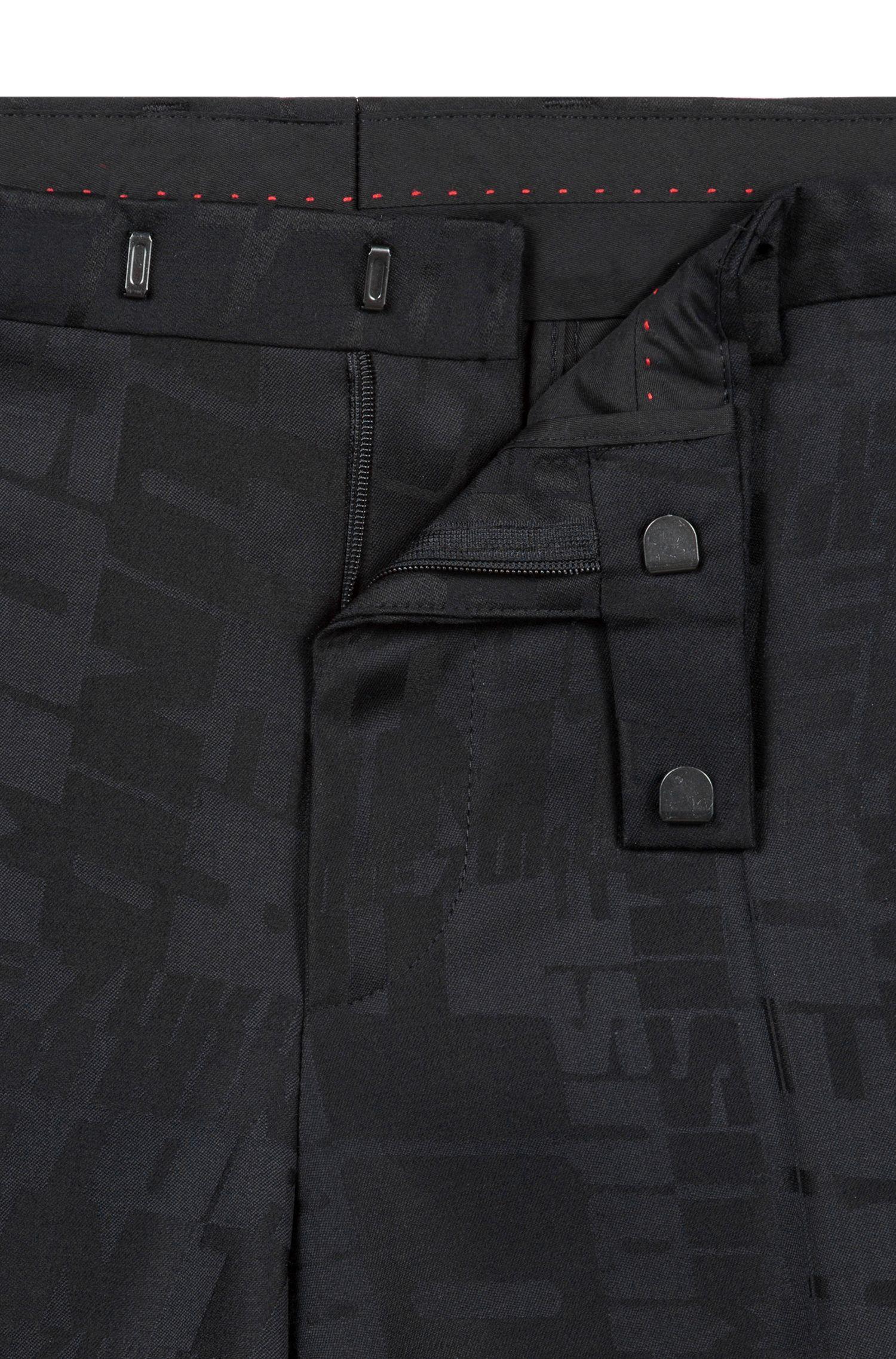 Extra-slim-fit virgin-wool suit with jacquard weave, Black