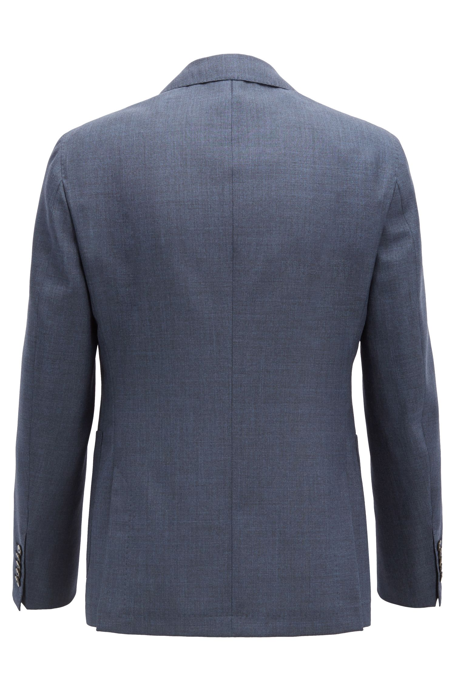 Slim-fit suit in mohair and virgin wool , Open Blue