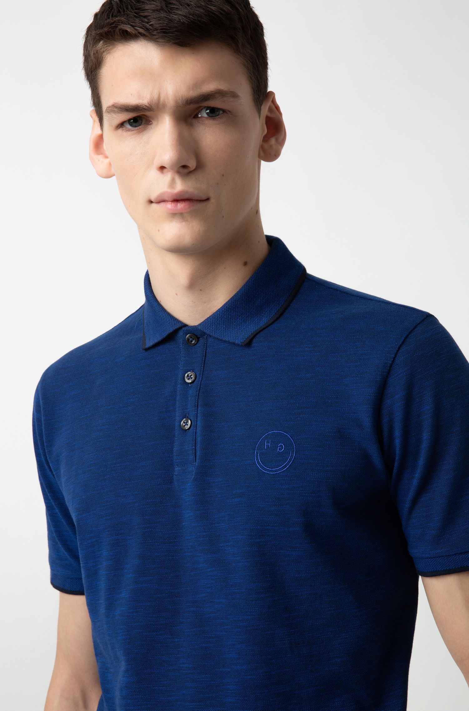 Regular-fit polo shirt with new-season logo, Dark Blue
