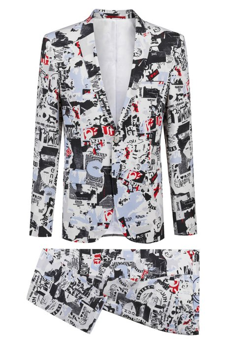 9f7e32923 Extra-slim-fit suit in graphic-print virgin wool. Arti/Hesten182 - 50405878