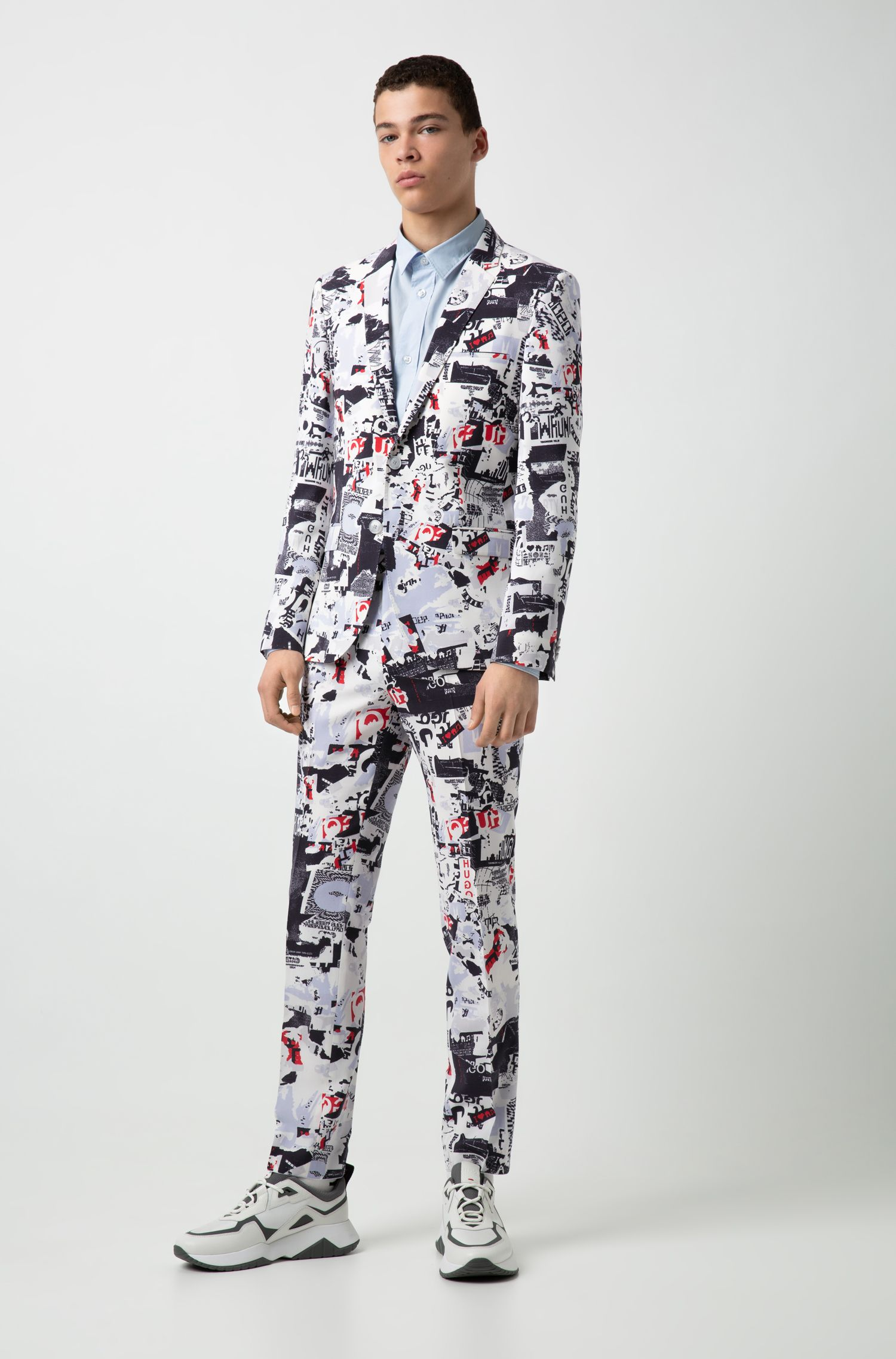 Extra-slim-fit suit in graphic-print virgin wool, Light Blue
