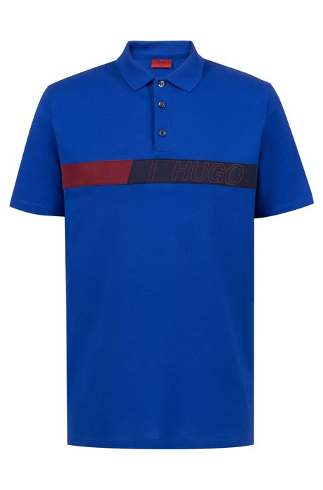 Regular-fit polo shirt in cotton with logo artwork, Blue