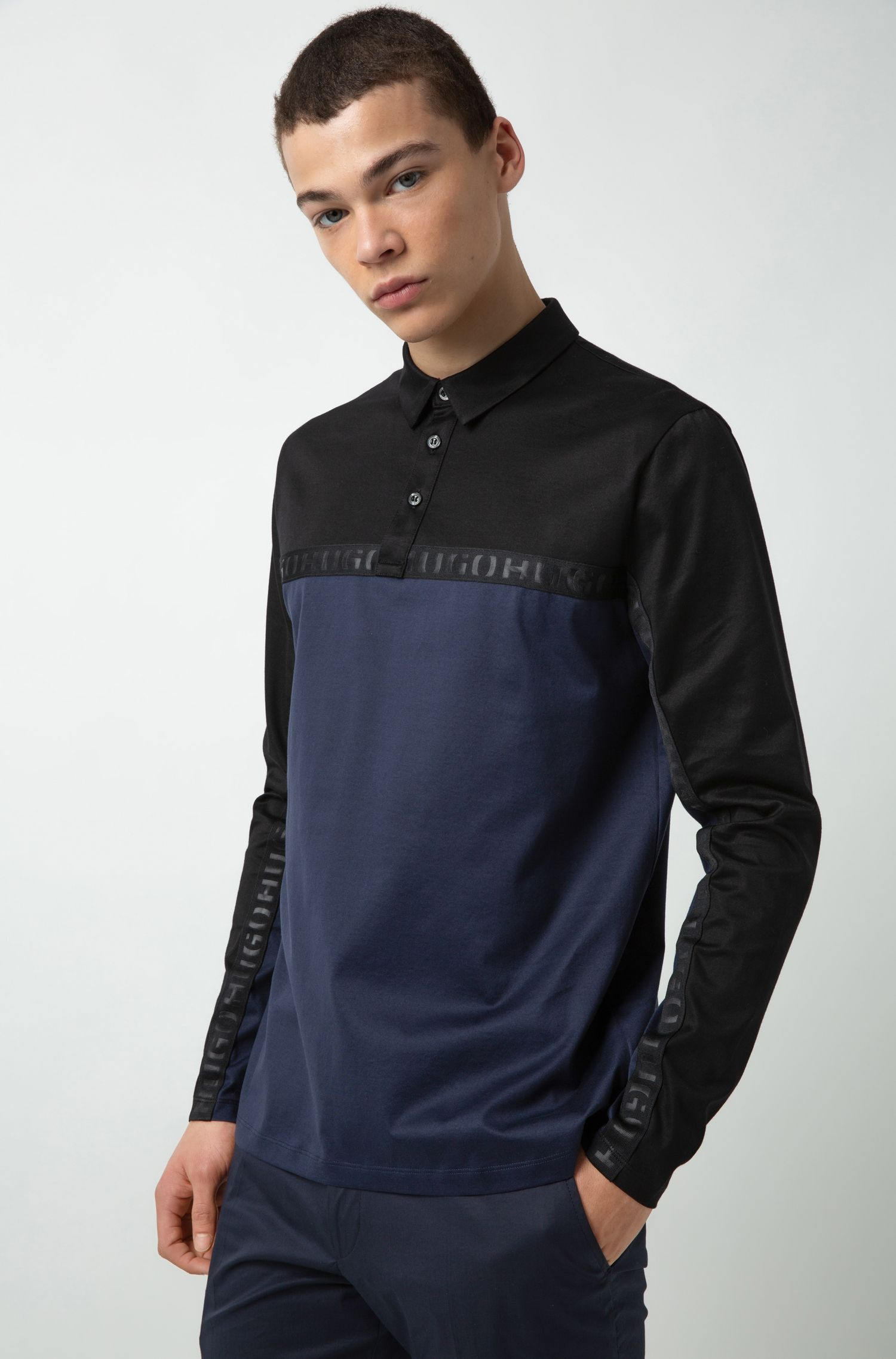 Long-sleeved polo shirt in cotton with logo tape, Dark Blue