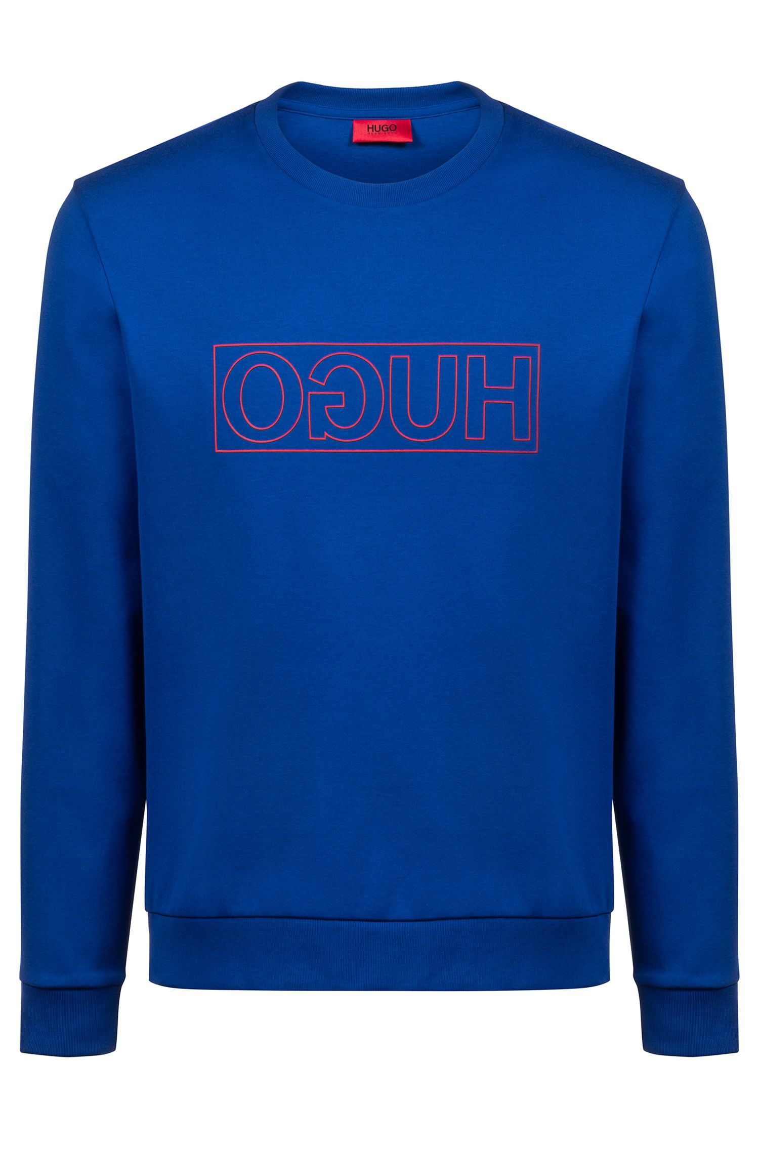 Reverse-logo sweatshirt in interlock cotton, Blue