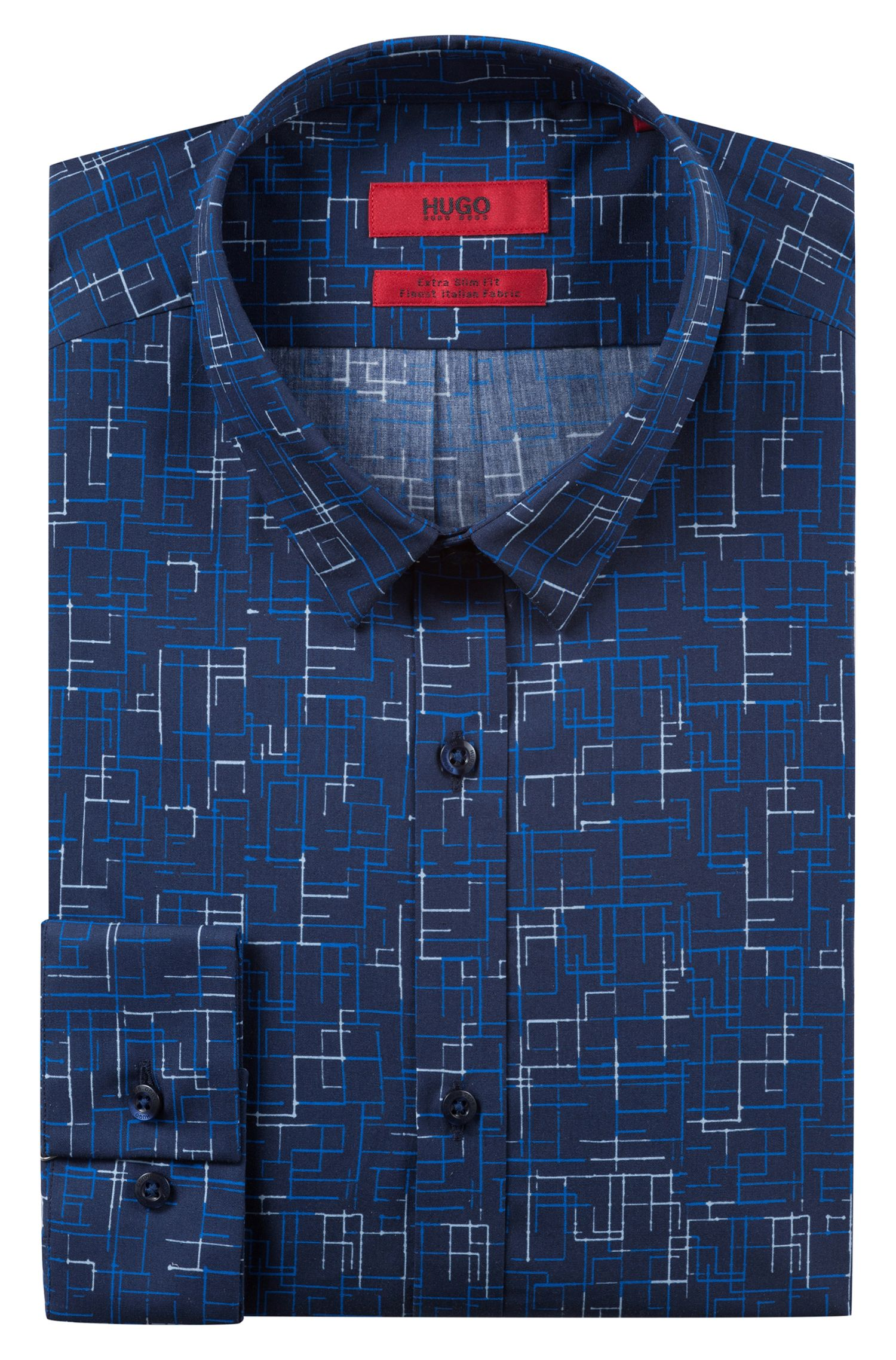 Extra-slim-fit cotton shirt with techno-inspired print, Dark Blue