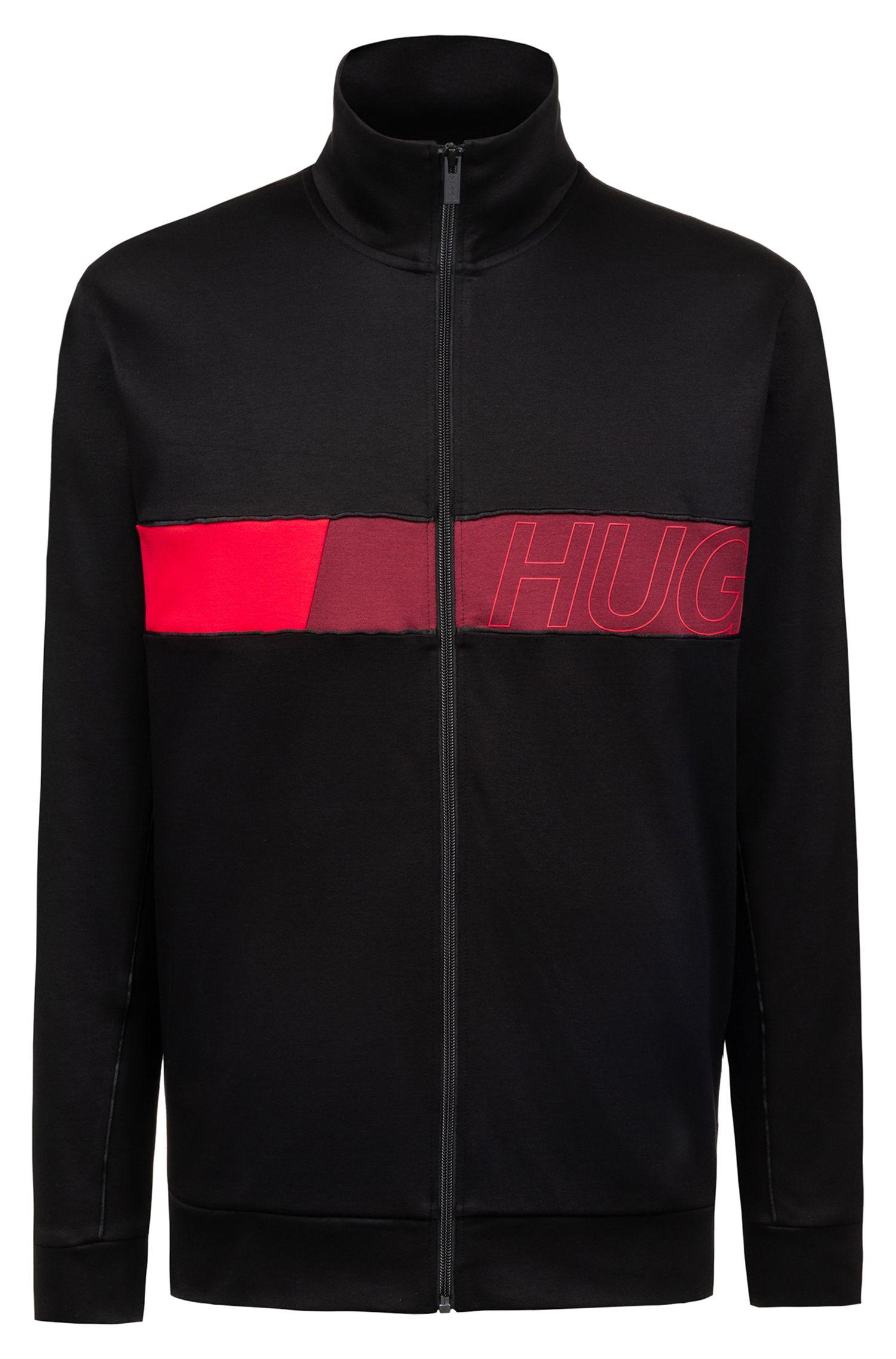 Zipper-through sweatshirt with color-block logo panel, Black