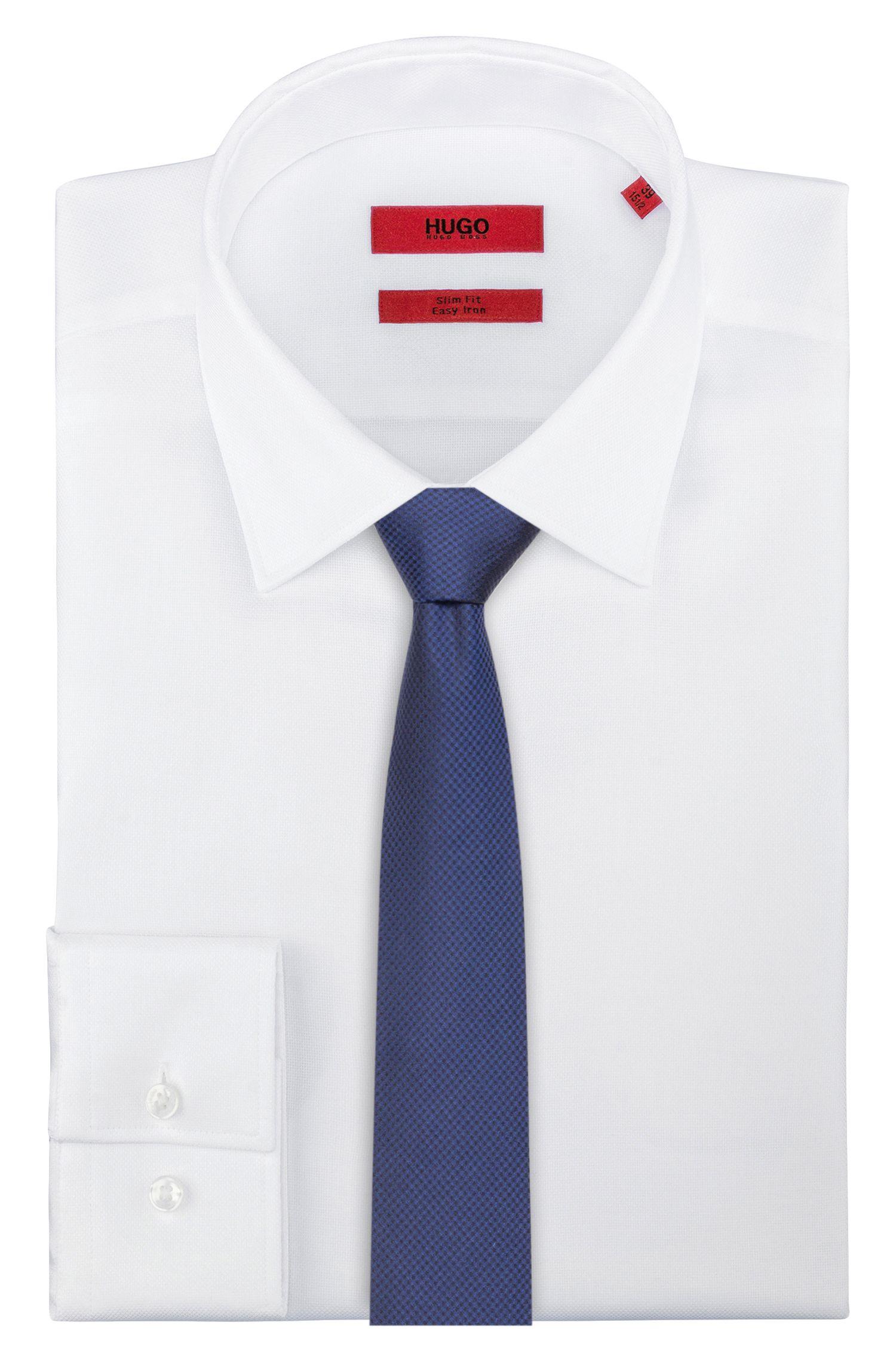 Micro-pattern tie in silk jacquard, Dark Blue