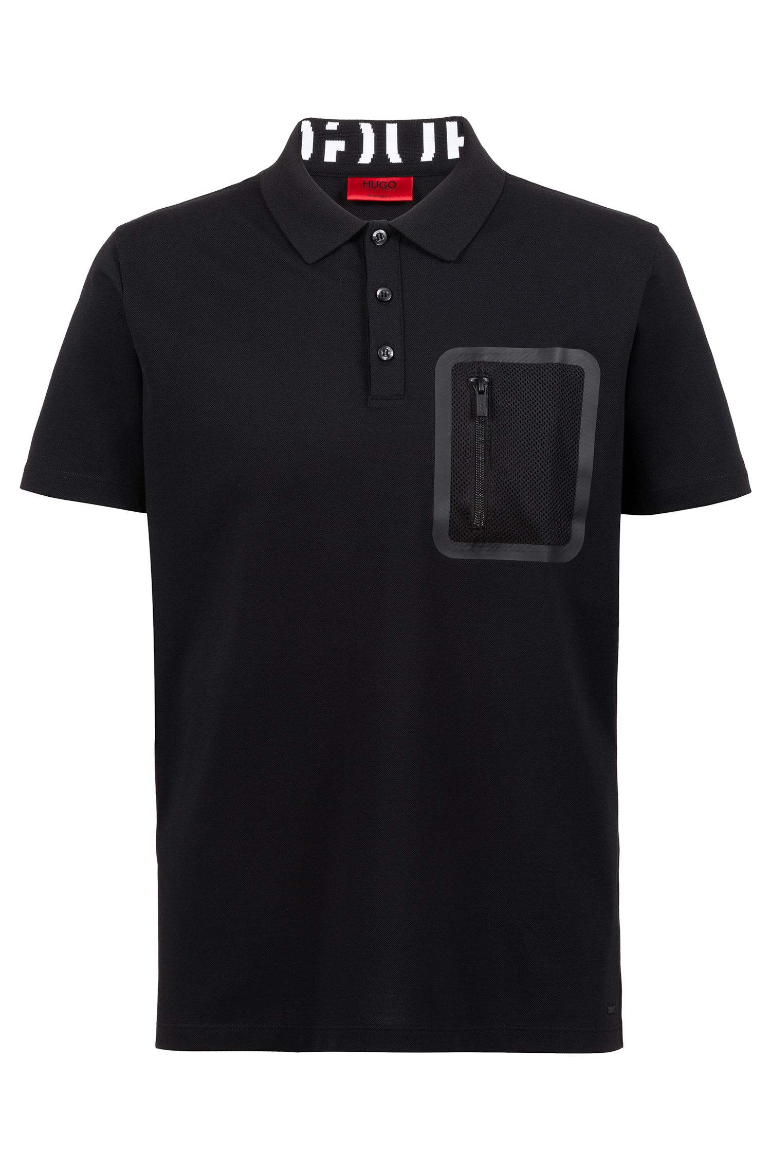 Knitted polo shirt with Permafit finishing and zippered pocket, Black