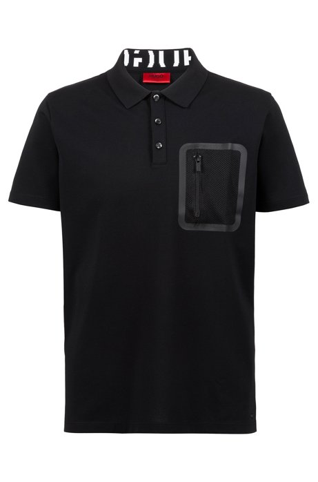 a5f76296826 HUGO - Knitted polo shirt with Permafit finishing and zippered pocket