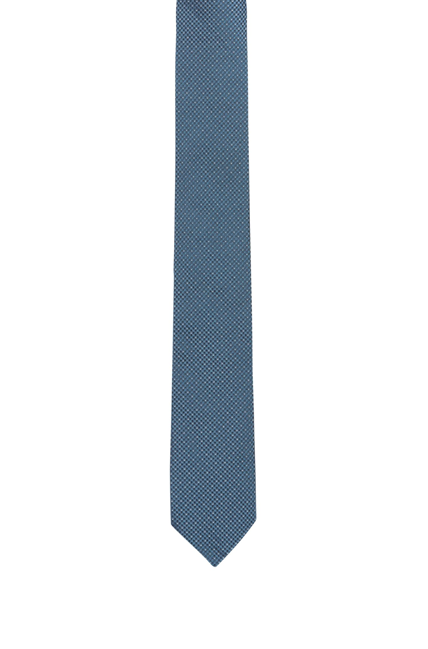 Micro-pattern tie in silk jacquard, Open Blue