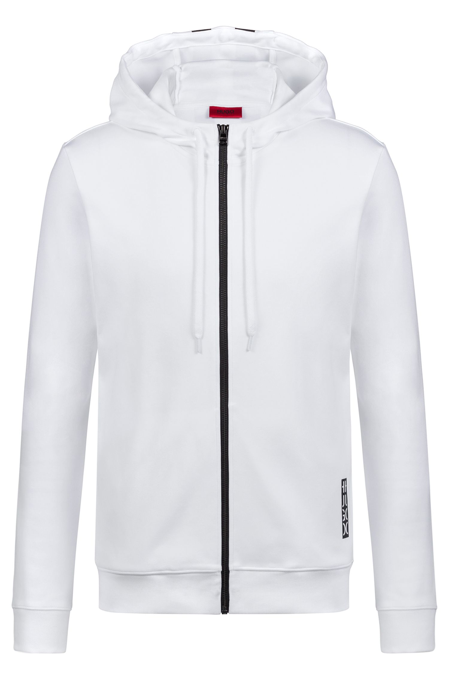 Hooded sweatshirt in cotton with large-scale cropped logo, White