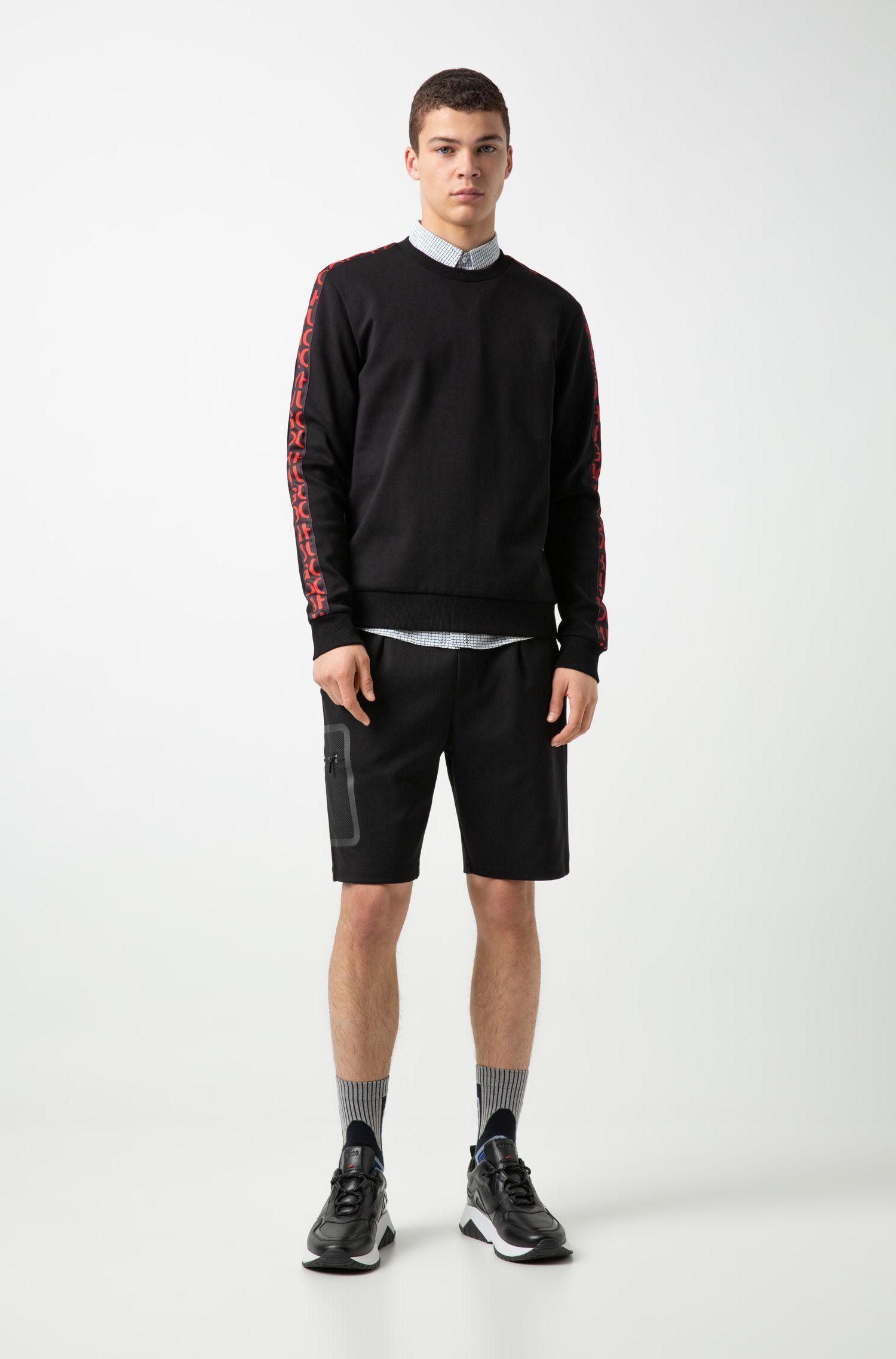 Interlock-cotton sweatshirt with logo-interpretation sleeve tape, Black
