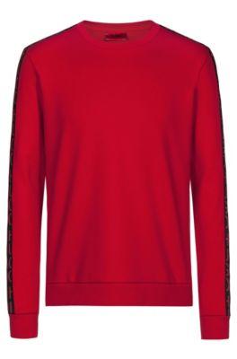 Interlock-cotton sweatshirt with logo-interpretation sleeve tape, Open Pink
