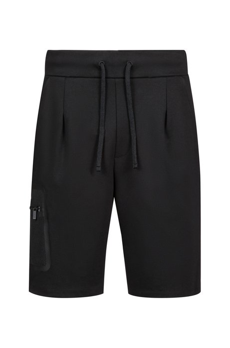 Regular-fit jersey shorts with patched mesh pocket, Black