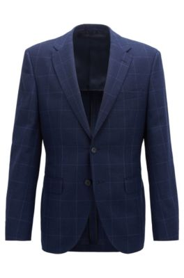 Checkered regular-fit jacket in wool with linen and silk, Open Blue
