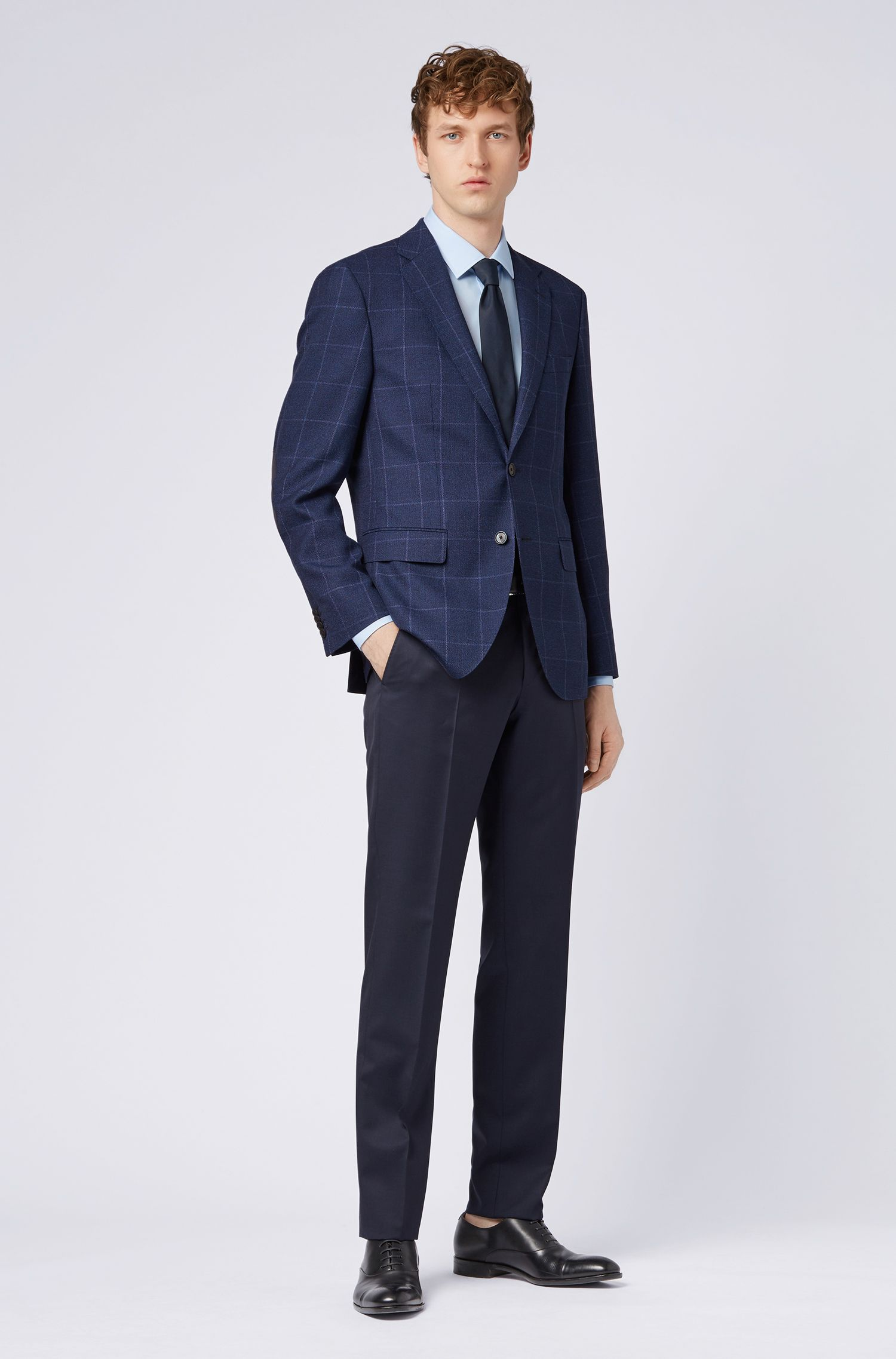 Checked regular-fit jacket in wool with linen and silk, Open Blue