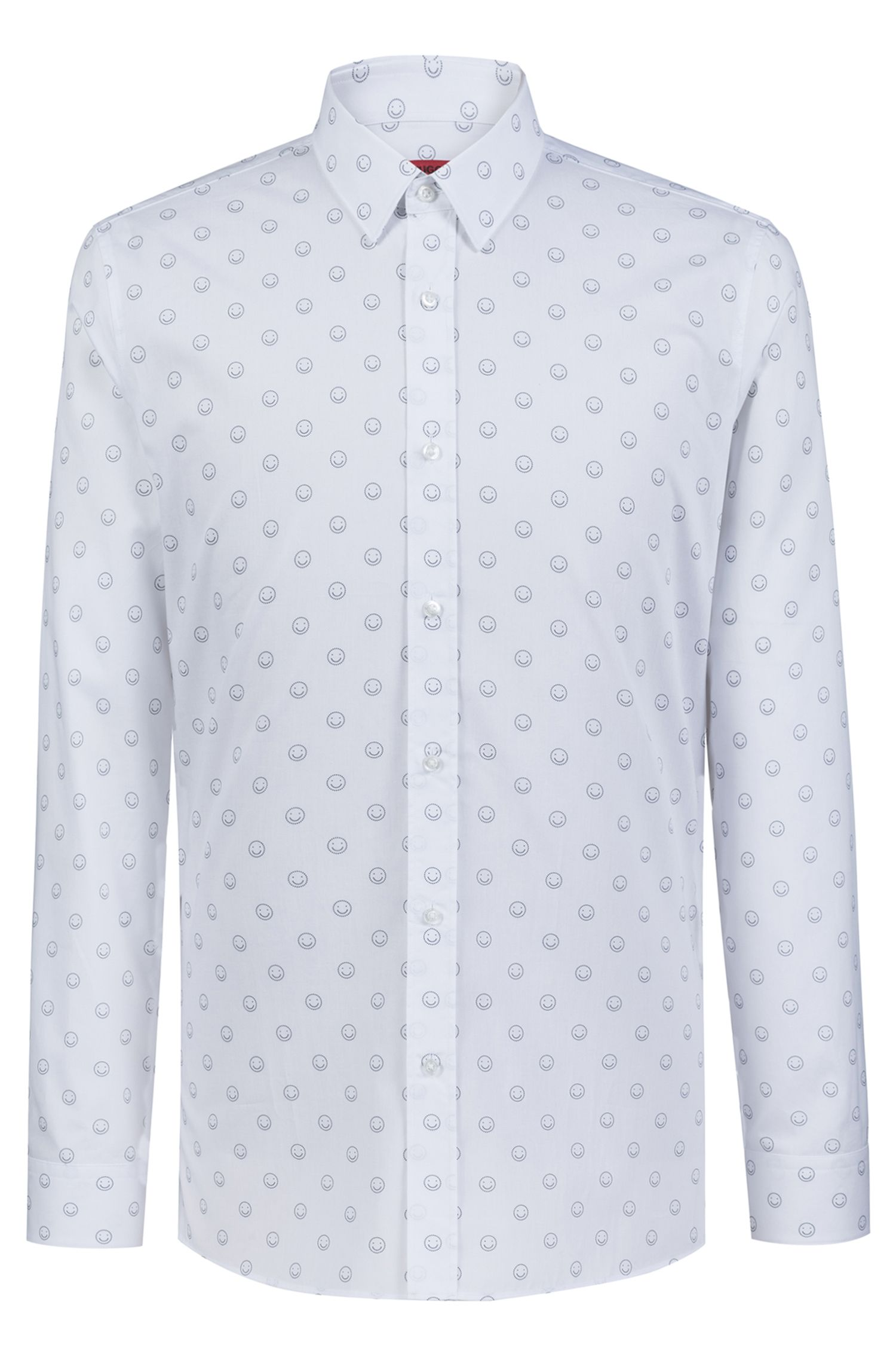 Extra-slim-fit cotton shirt with smiley-face motif, Open White