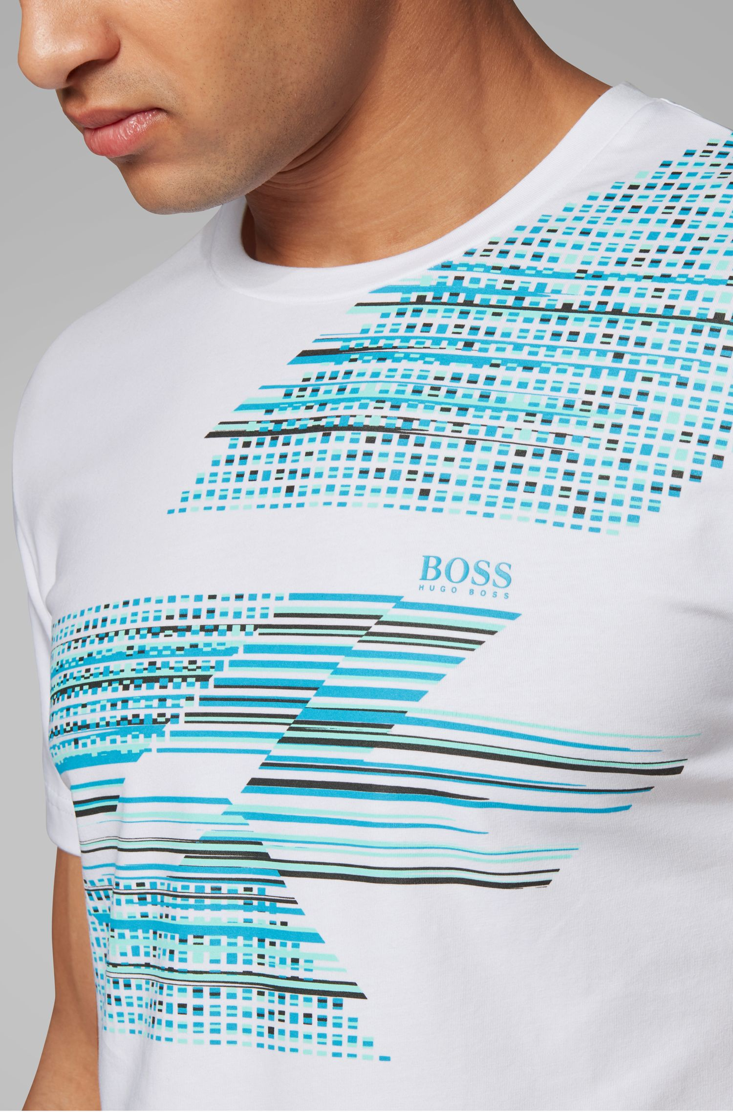 Slim-fit T-shirt with geometric multicolored artwork, White