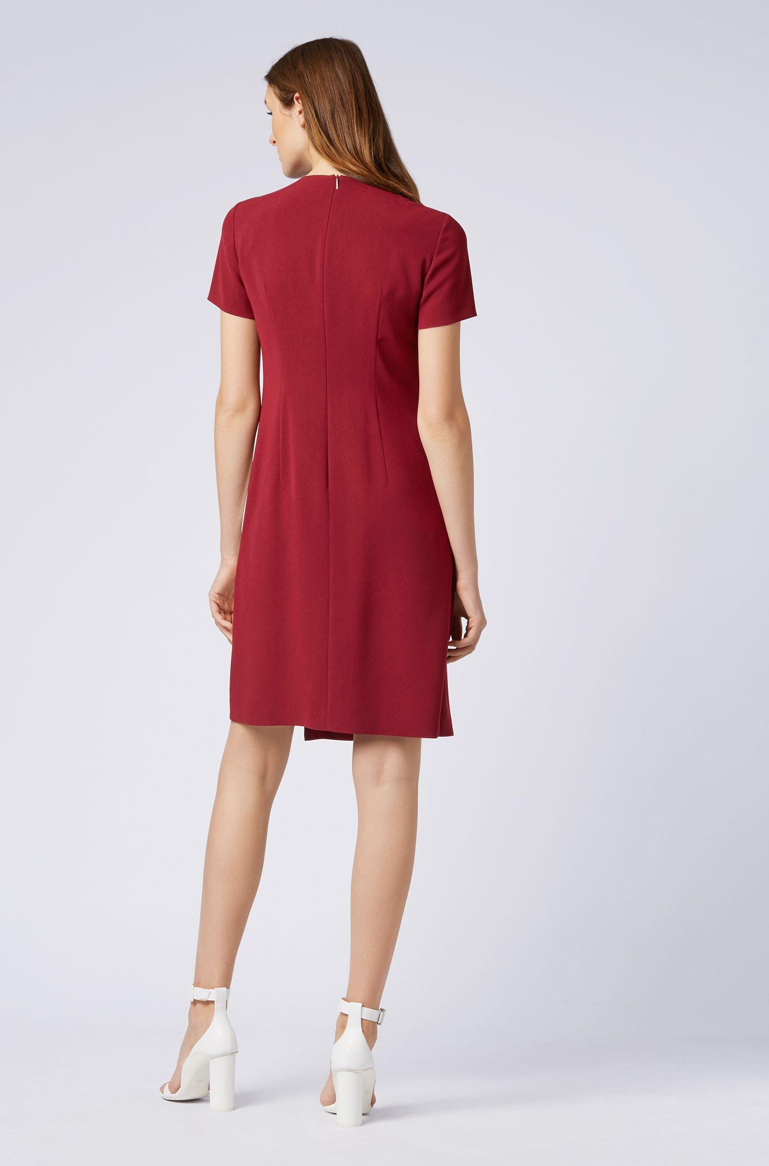 Colorblock dress in crease-resistant Japanese crepe, Dark Red