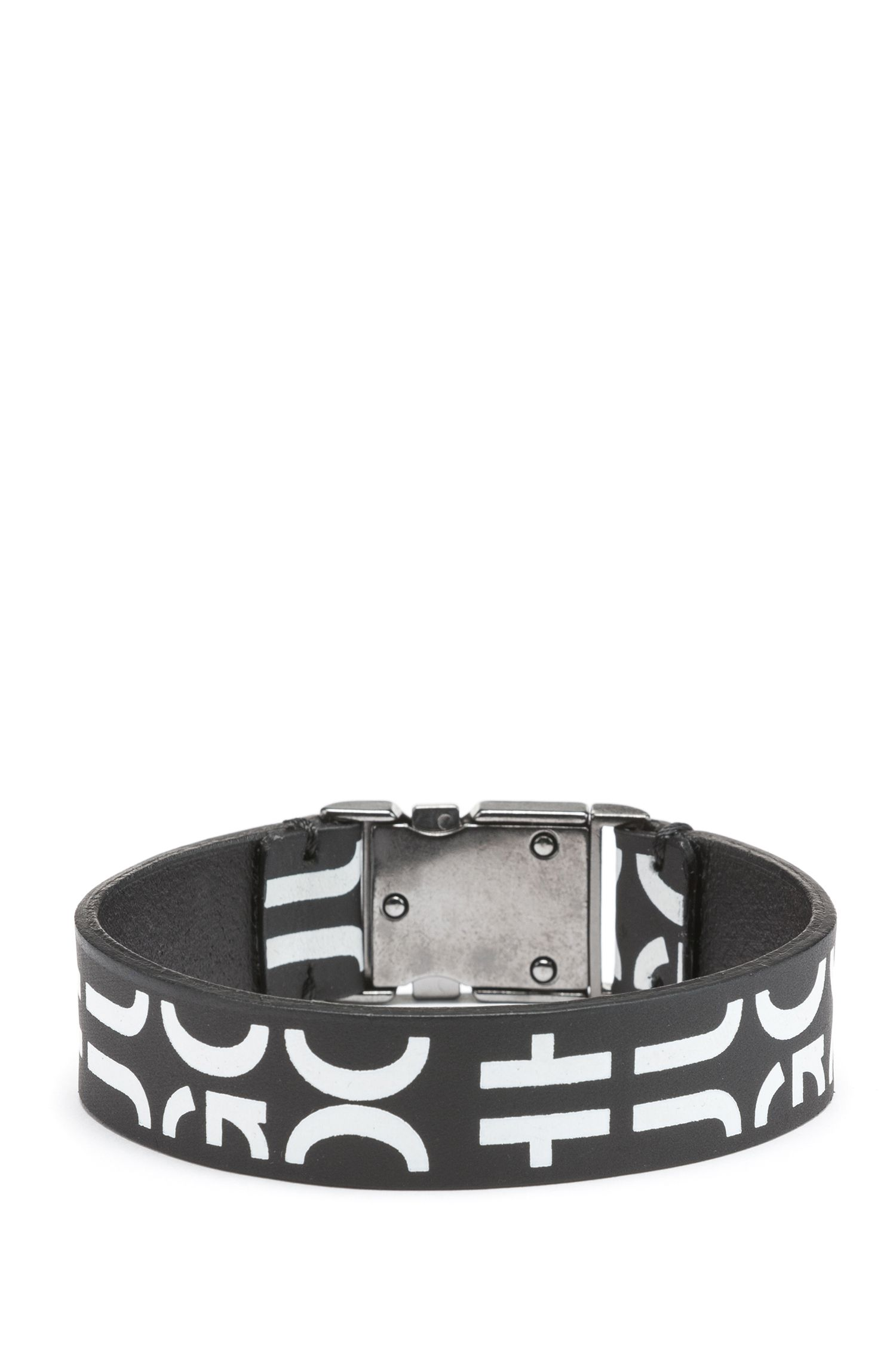 Buckle-closure bracelet in Italian leather with cropped logo, Black