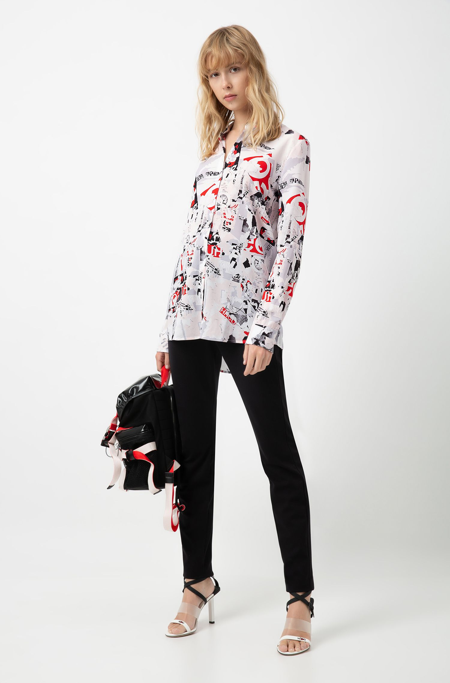 Long-sleeved blouse in stretch fabric with statement print, Patterned