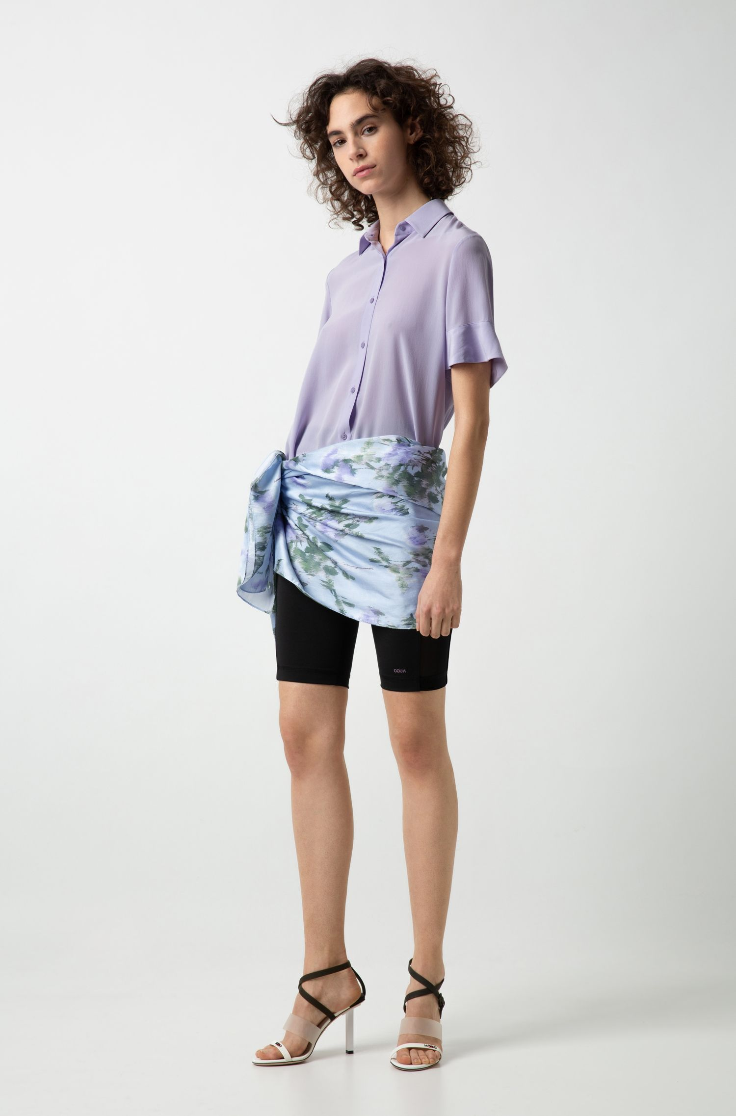 Relaxed-fit cropped blouse in silk georgette , Purple