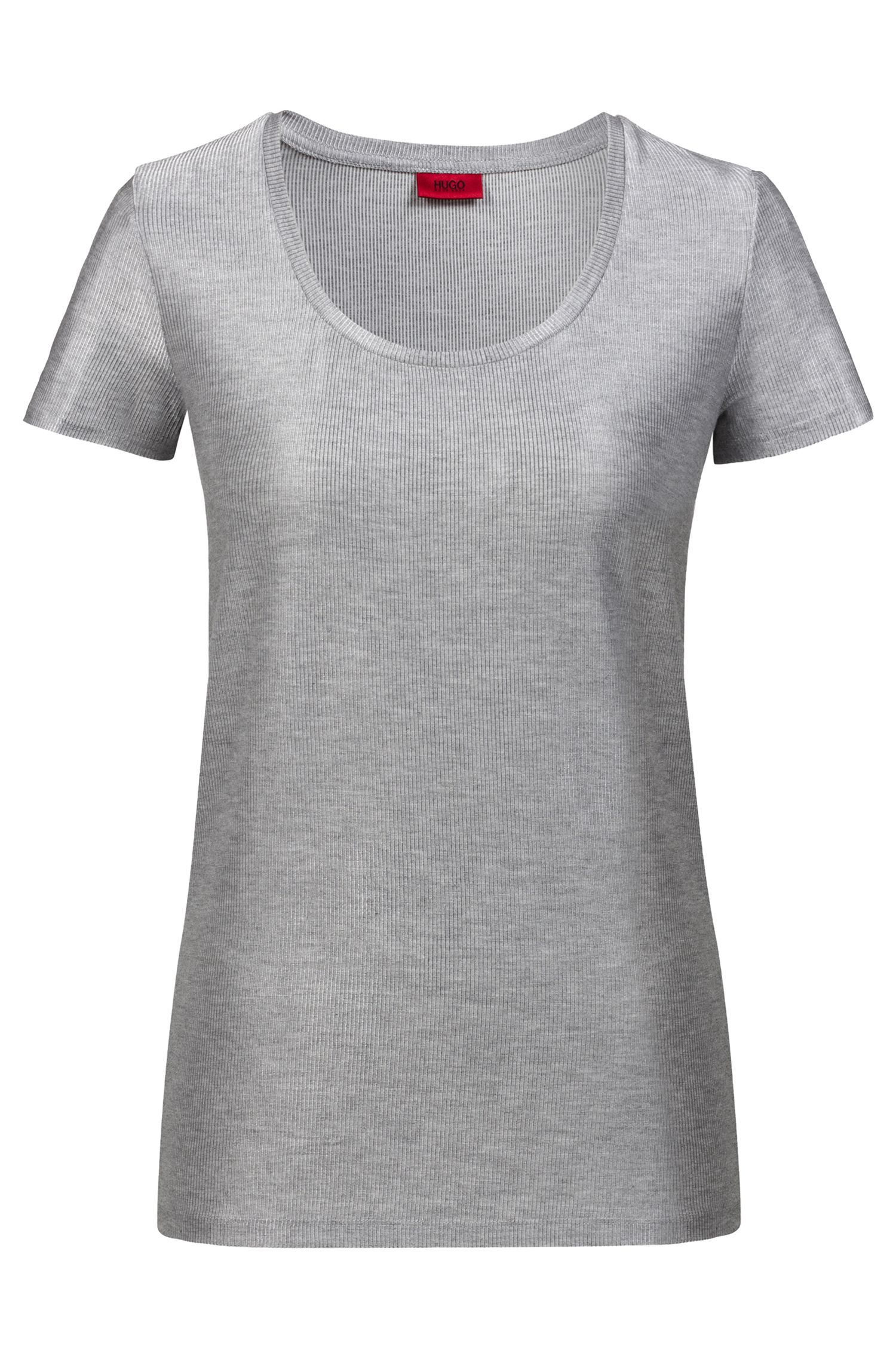 Regular-fit T-shirt in ribbed melange fabric, Silver