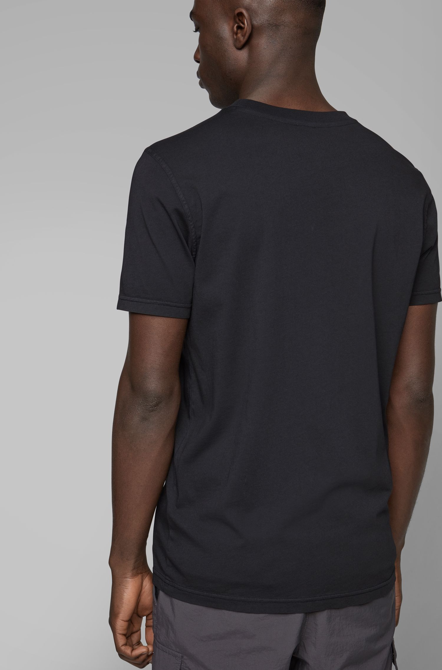 Crew-neck T-shirt in garment-dyed single-jersey cotton, Black