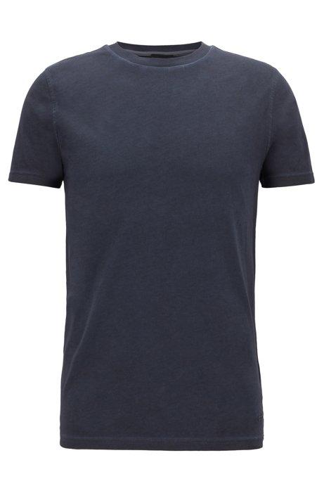 Crew-neck T-shirt in garment-dyed single-jersey cotton, Dark Blue
