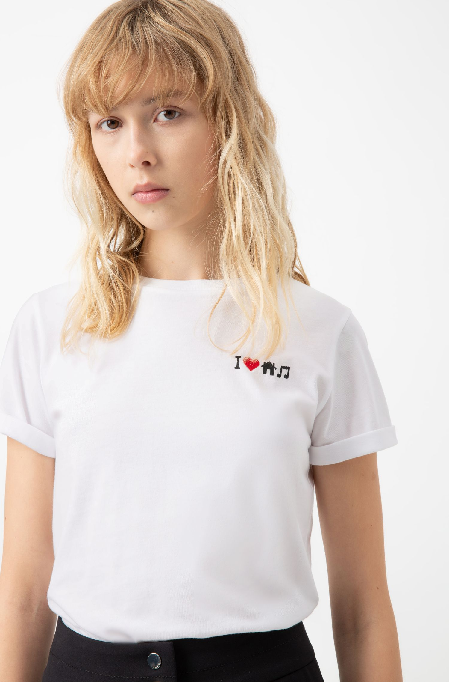 Regular-fit T-shirt with emoji-based slogan, White