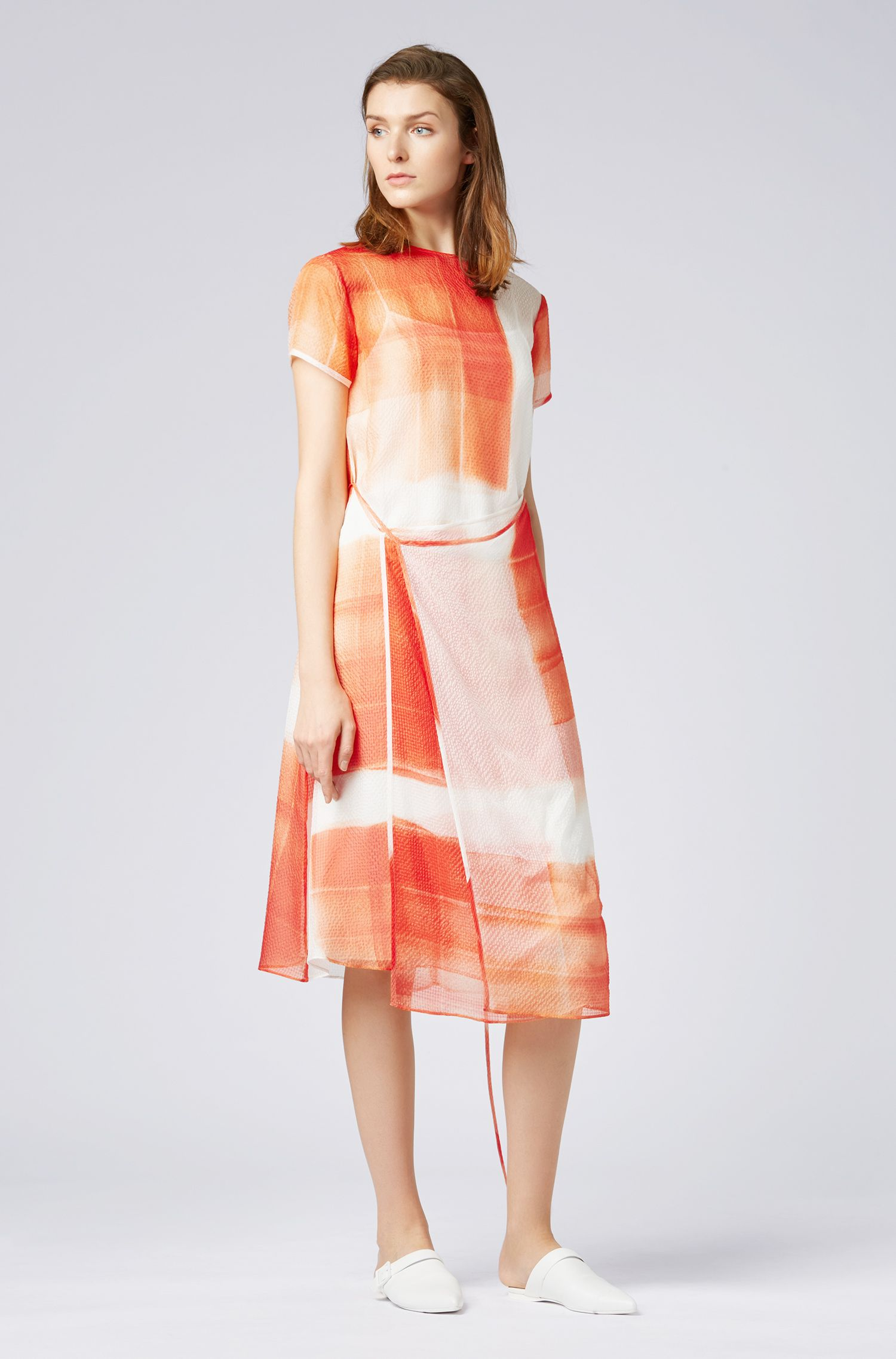 Silk-seersucker dress with exclusive check print, Patterned