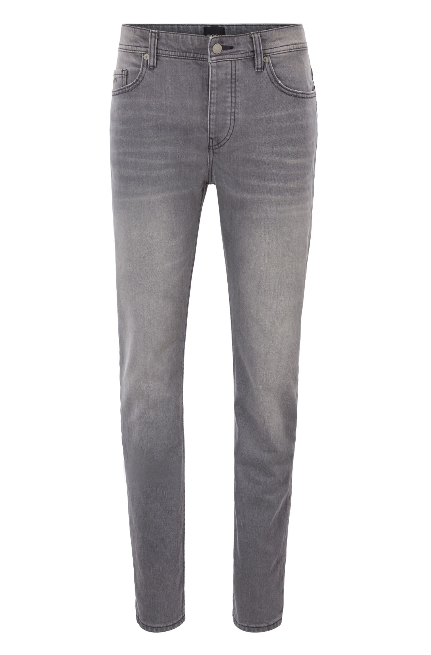 Tapered-fit jeans in steel-gray comfort-stretch denim, Grey