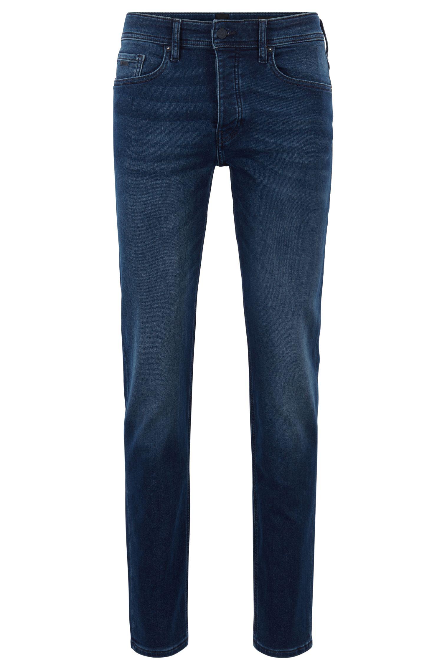 Tapered-fit jeans in dark-blue knitted denim, Dark Blue