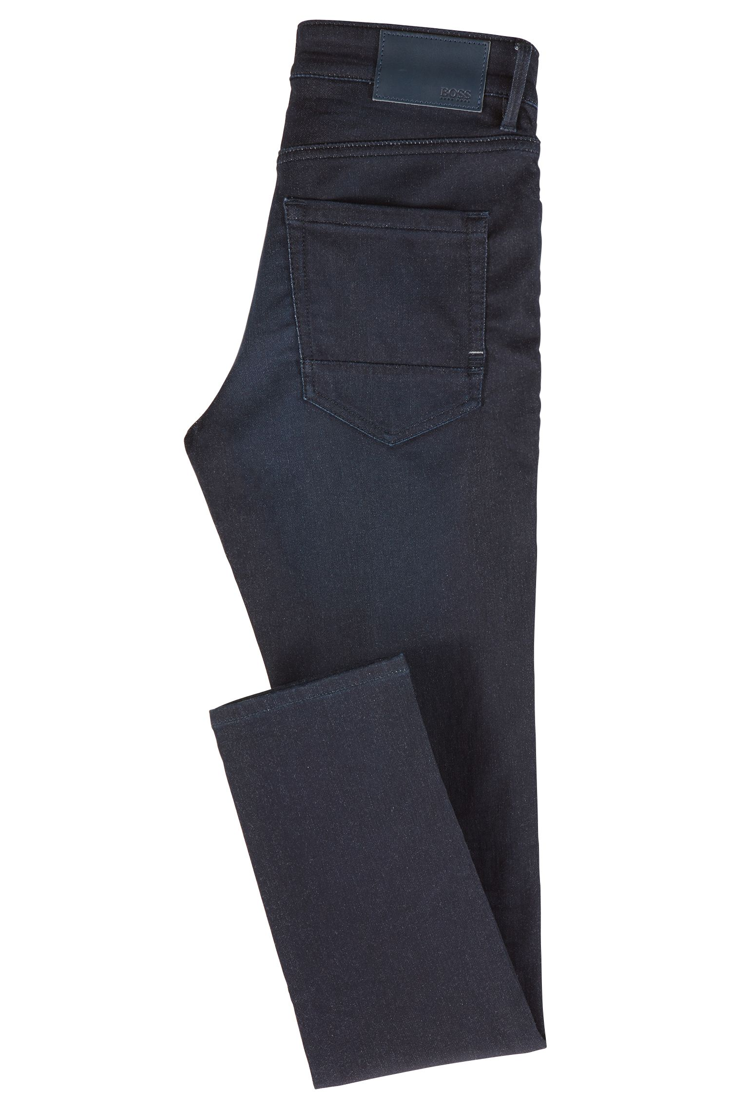 Skinny-fit jeans in a knitted stretch-cotton blend, Dark Blue