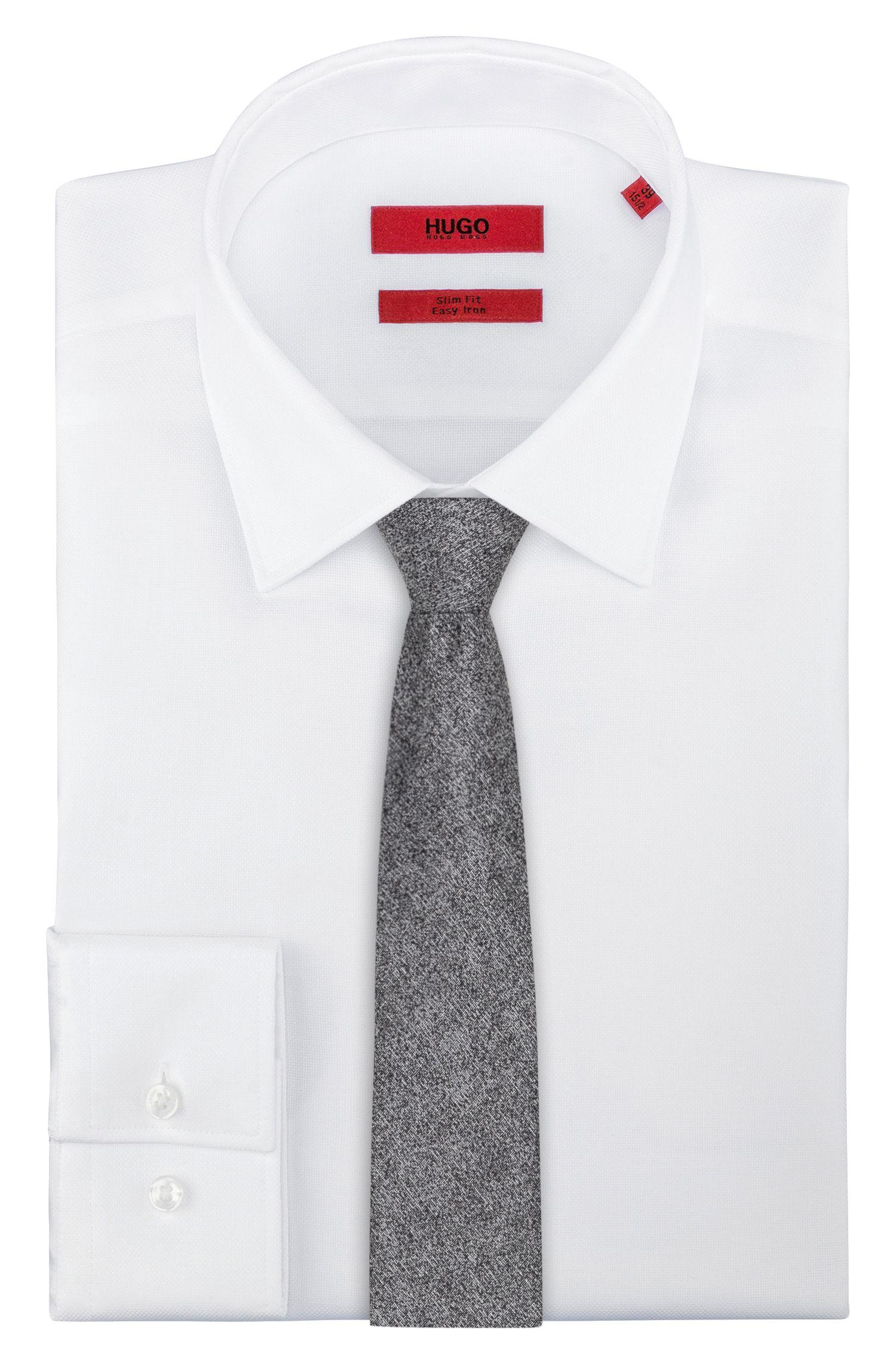 Melange tie in cotton with silk, Dark Grey
