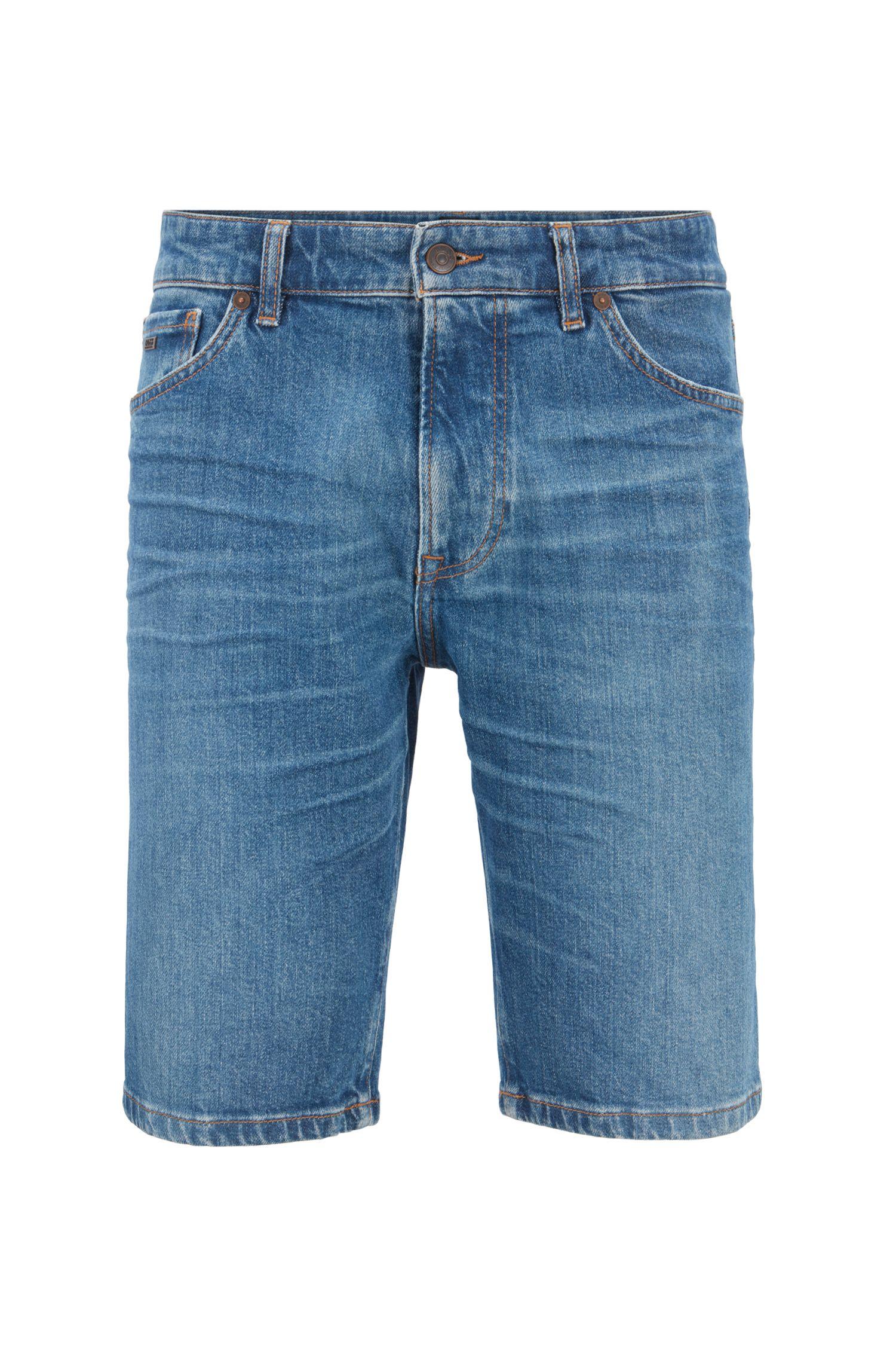 Regular-fit shorts in eco-friendly Italian stretch denim, Dark Blue