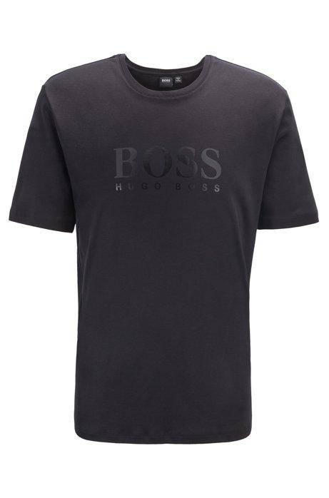 Logo pajama T-shirt in cotton-modal interlock, Black