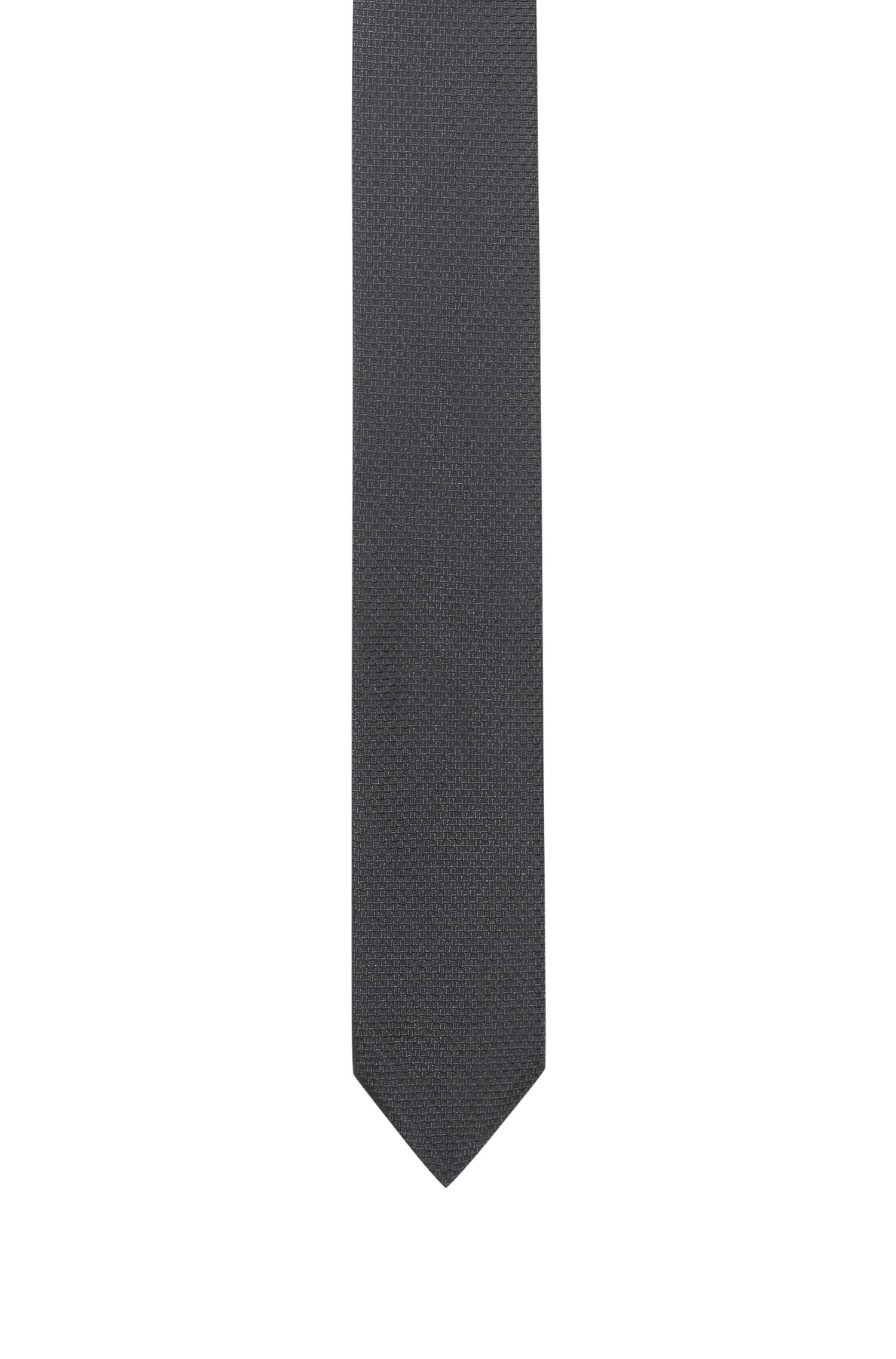 Micro-patterned tie in pure silk jacquard, Black