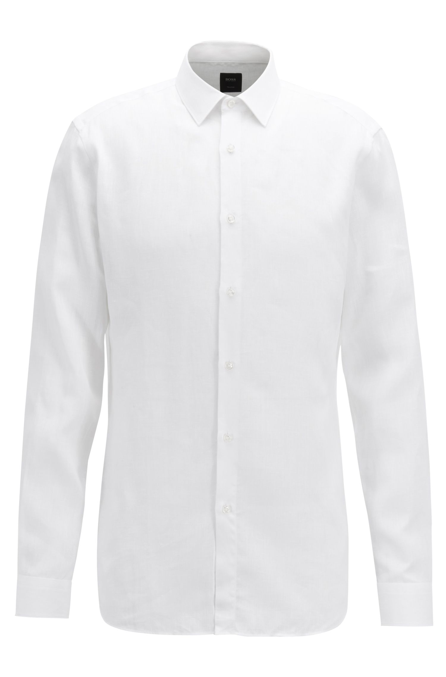 Slim-fit shirt with mother-of-pearl buttons, White