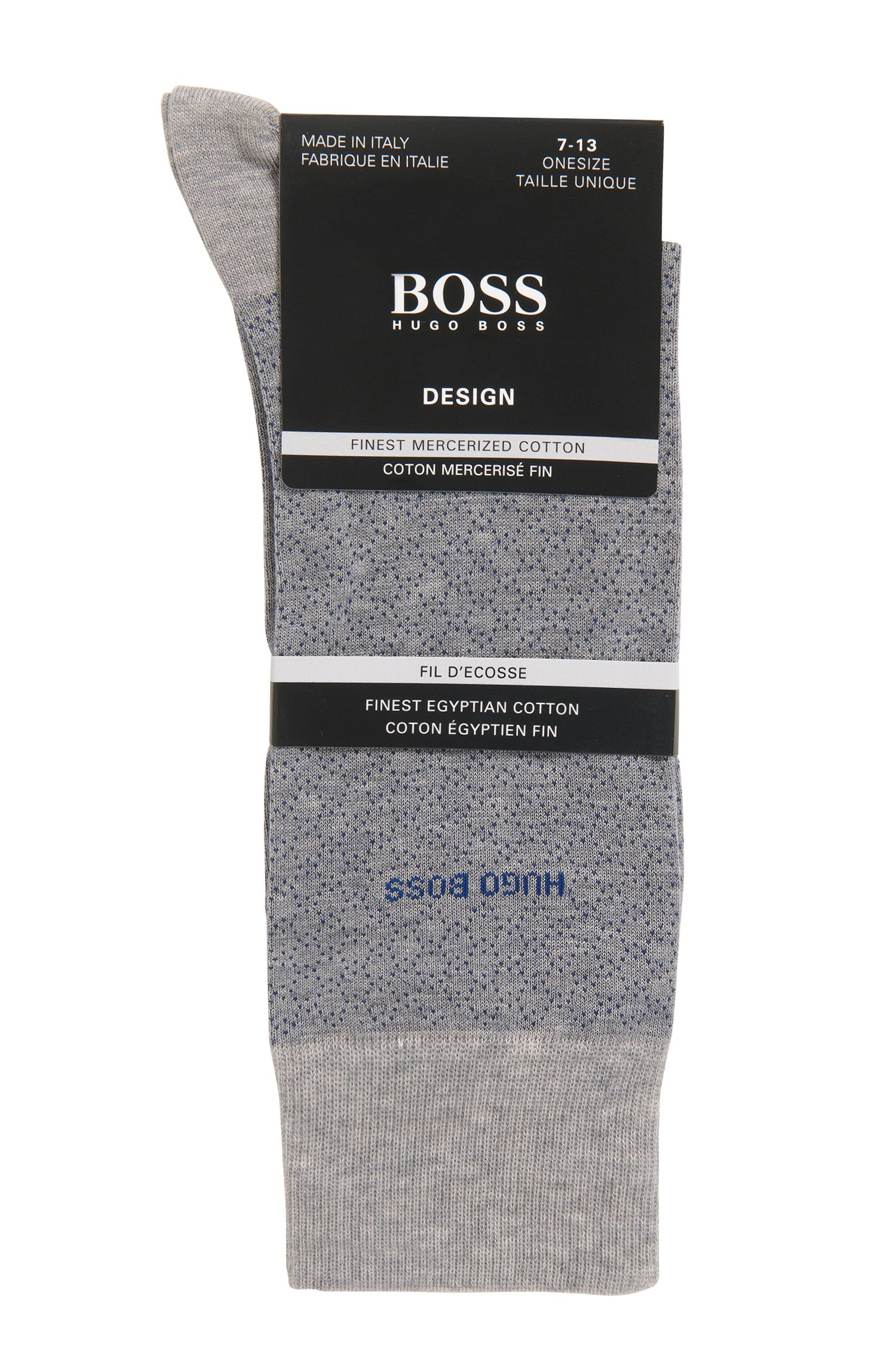 Micro-patterned socks in mercerized stretch cotton, Silver