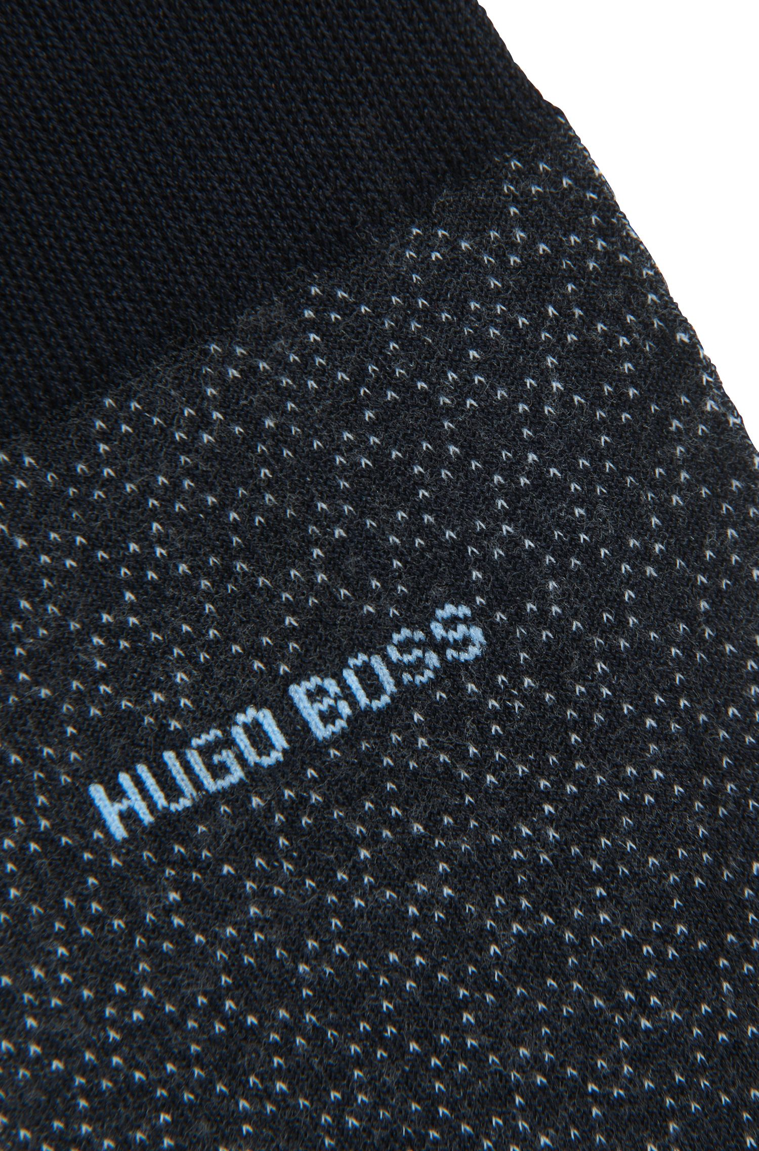 Micro-patterned socks in mercerized stretch cotton, Dark Blue